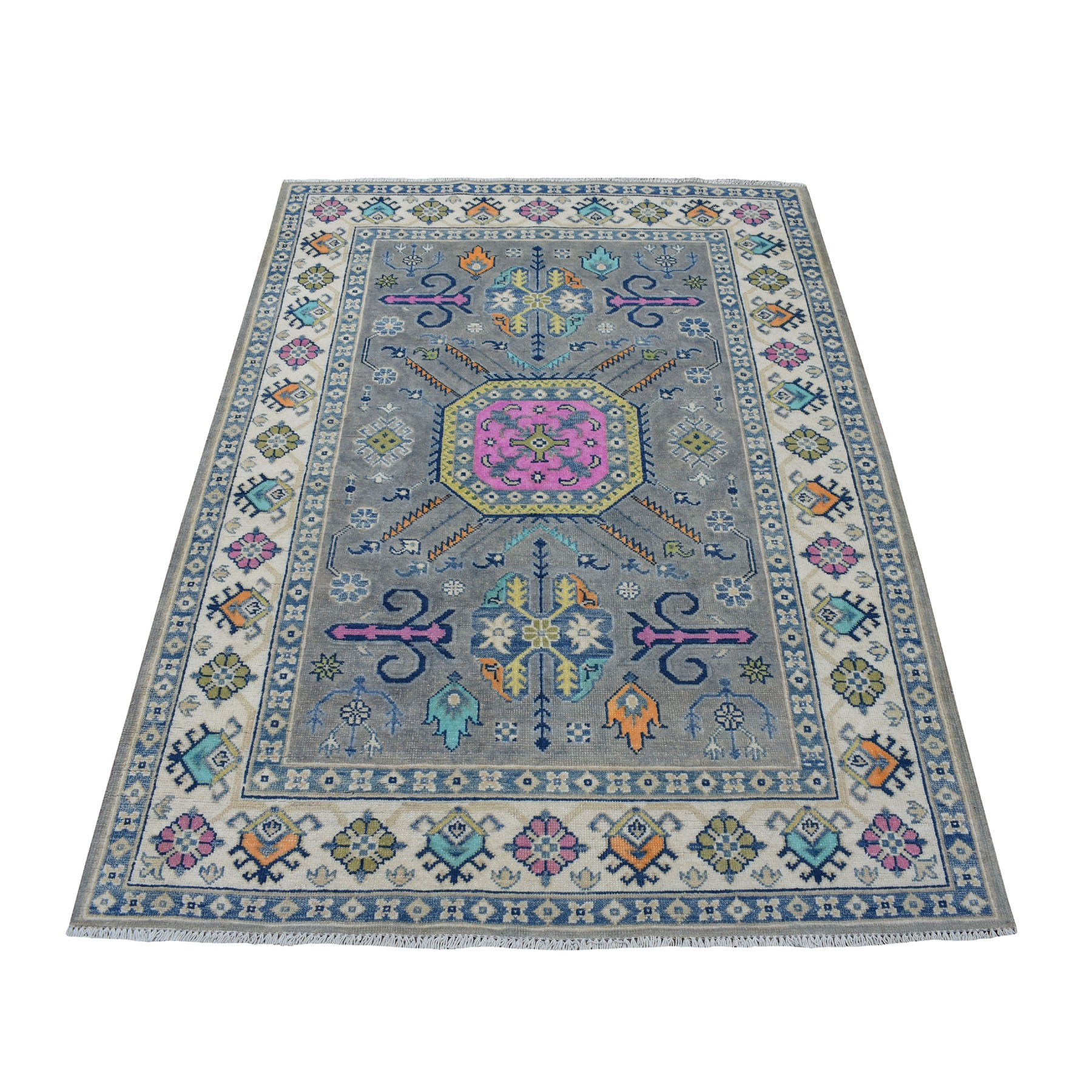 "4'2""X5'10"" Colorful Gray Fusion Kazak Pure Wool Geometric Design Hand Knotted Oriental Rug moaec806"