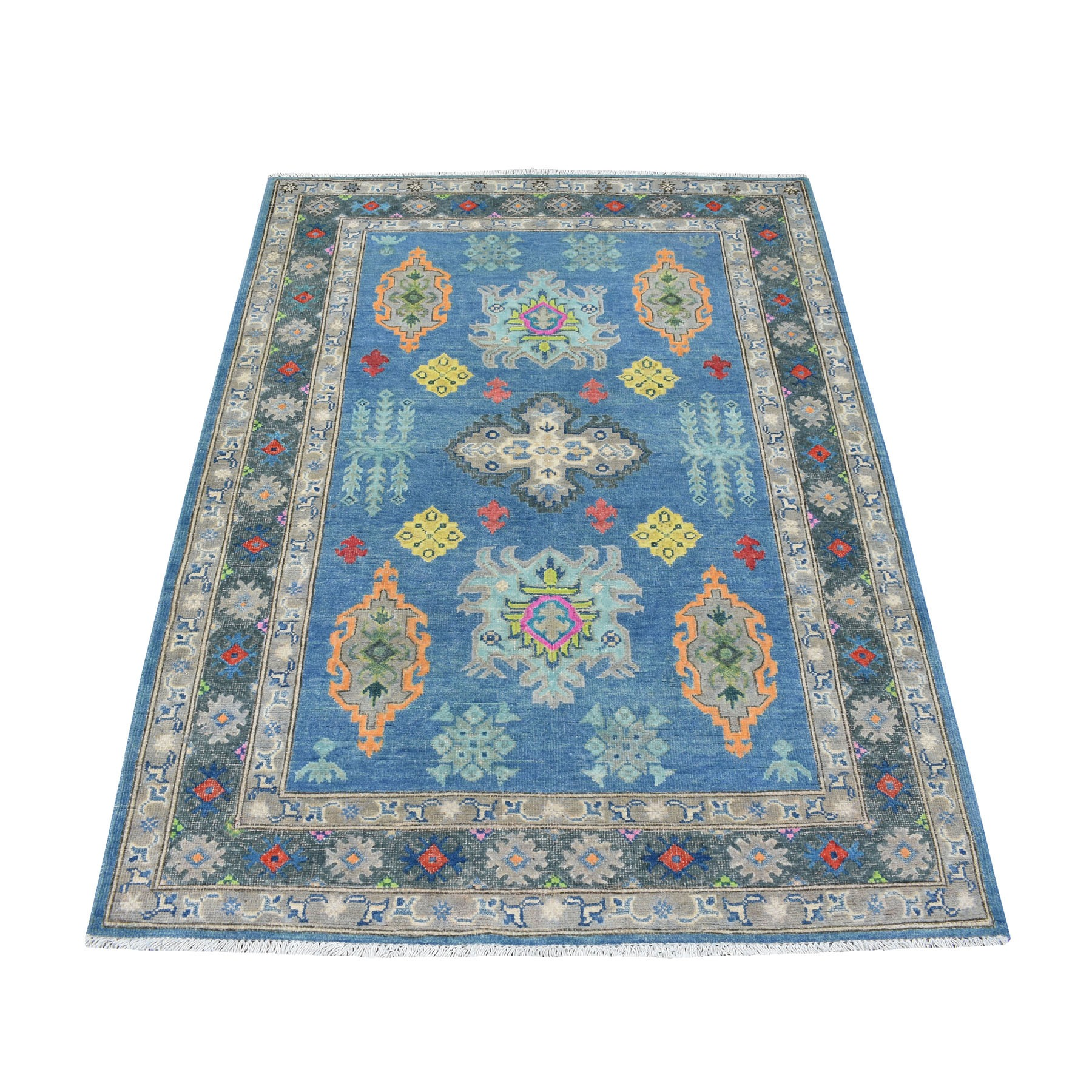 "4'2""X5'10"" Colorful Gray Fusion Kazak Pure Wool Geometric Design Hand Knotted Oriental Rug moaec809"