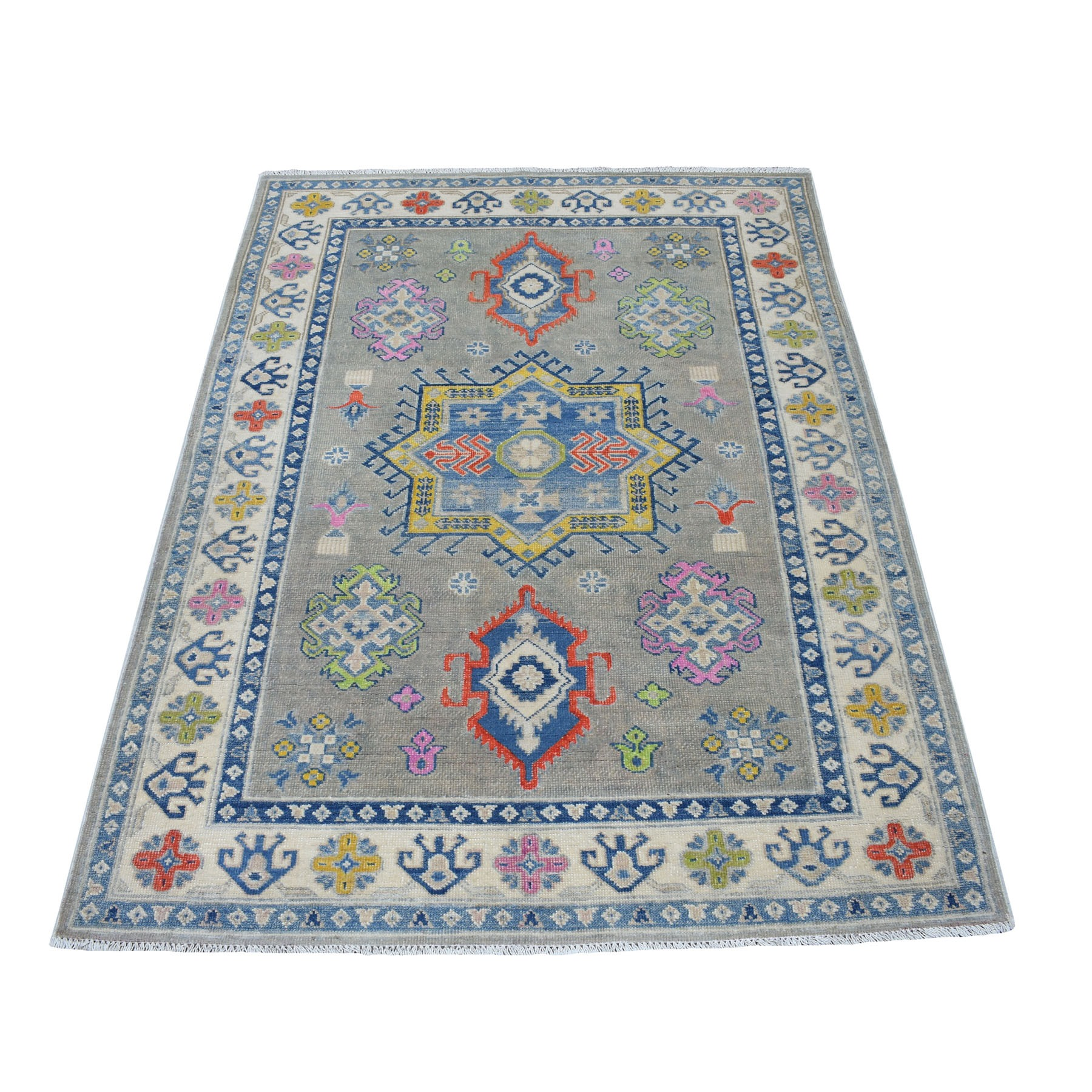 """4'X5'10"""" Colorful Gray Fusion Kazak Pure Wool Geometric Design Hand Knotted Oriental Rug moaec8a0"""