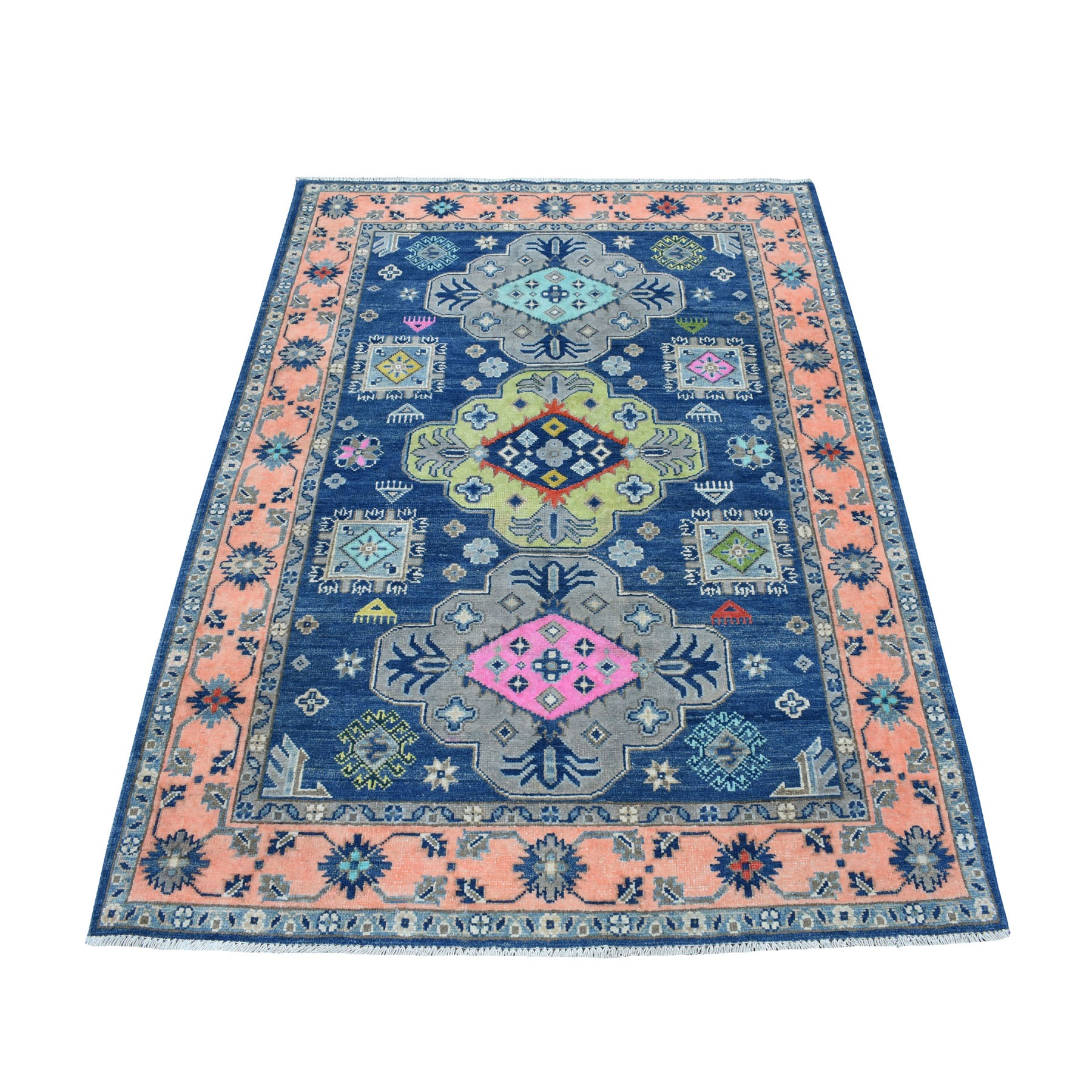 "4'1""X5'9"" Colorful Blue Fusion Kazak Pure Wool Geometric Design Hand Knotted Oriental Rug moaec8aa"