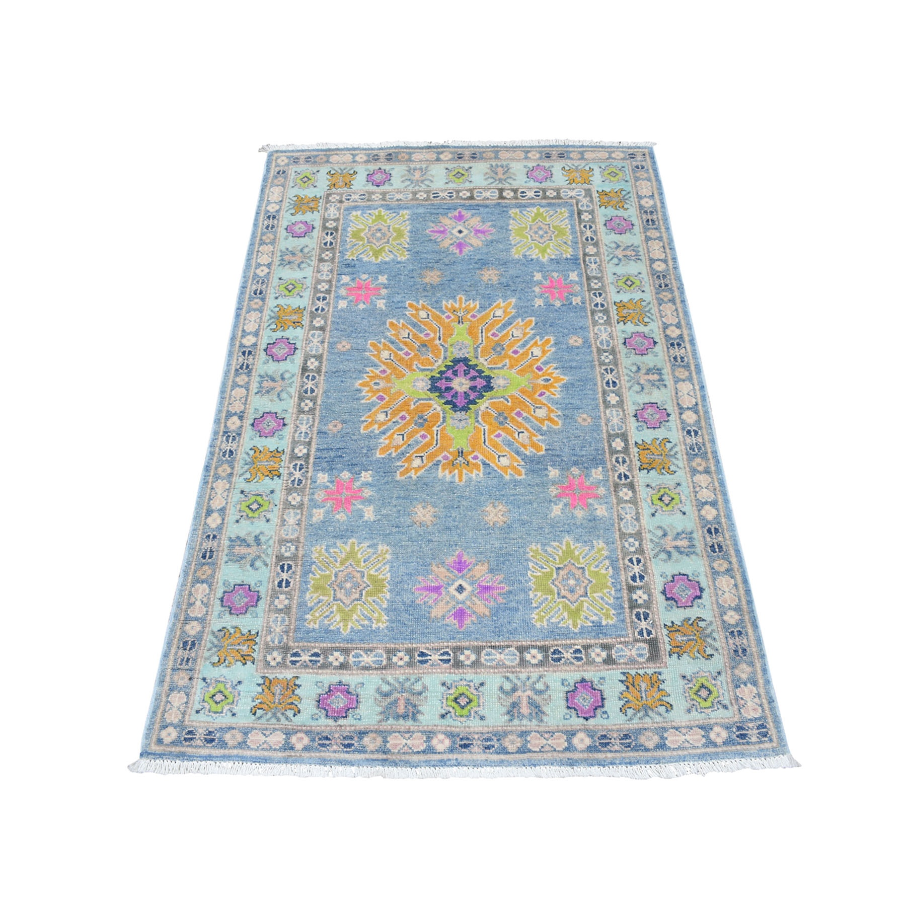 "3'x4'10"" Colorful Gray Fusion Kazak Pure Wool Geometric Design Hand Knotted Oriental Rug 53814"