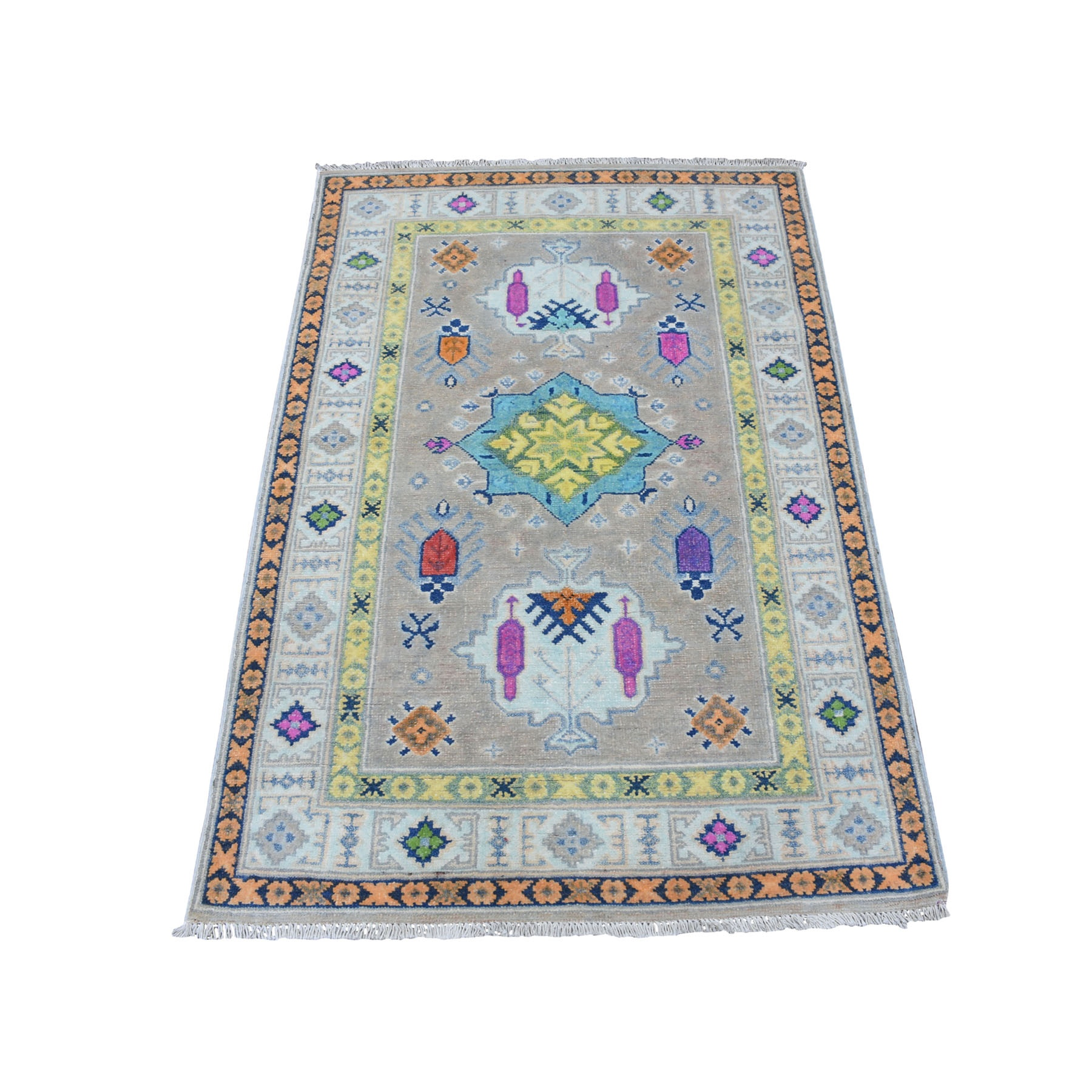 """3'X4'9"""" Colorful Gray Fusion Kazak Pure Wool Geometric Design Hand Knotted Oriental Rug moaec8ae"""