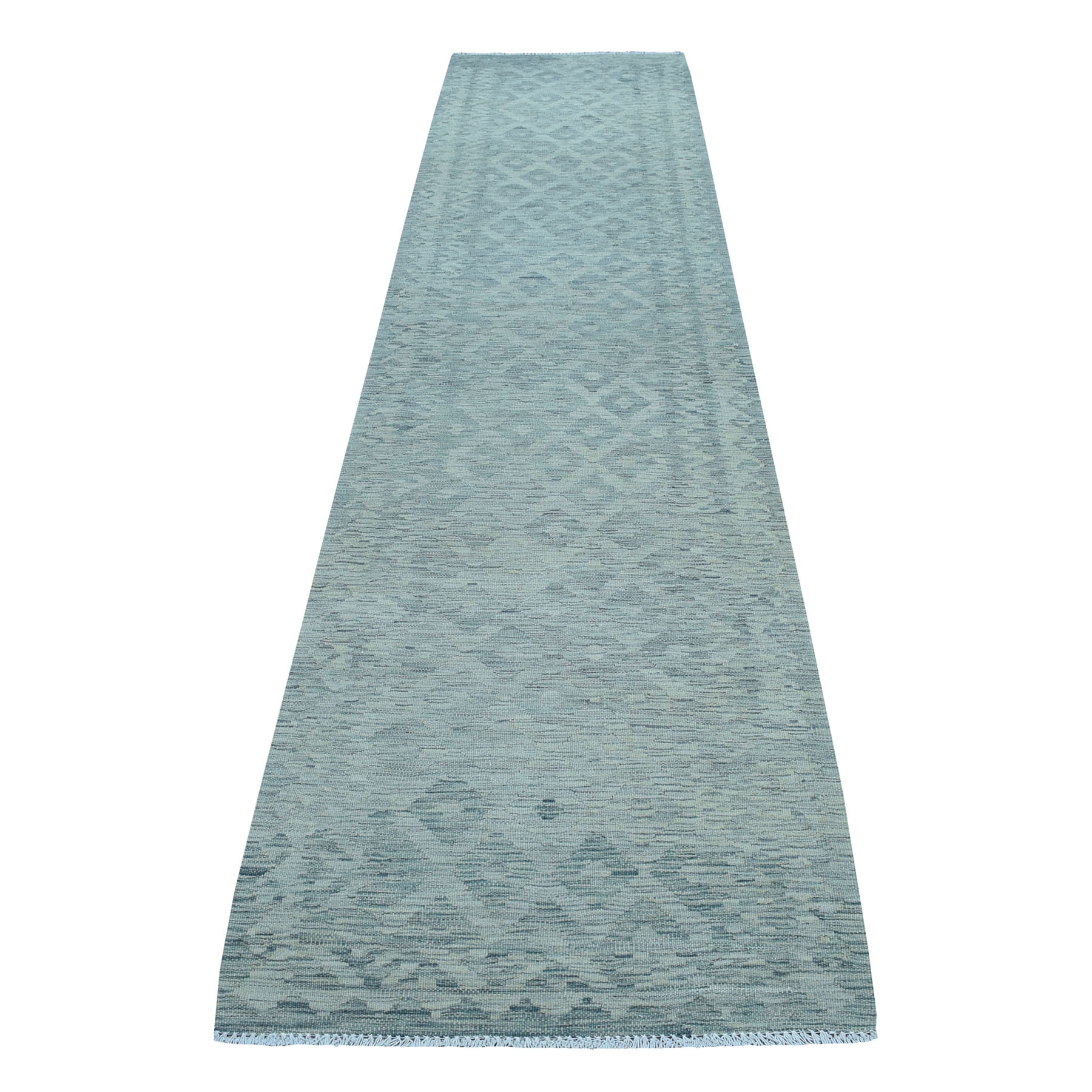 """2'8""""X12'8"""" Gray Shades Flat Weave Kilim Pure Wool Hand Woven Runner Oriental Rug moaec8a6"""