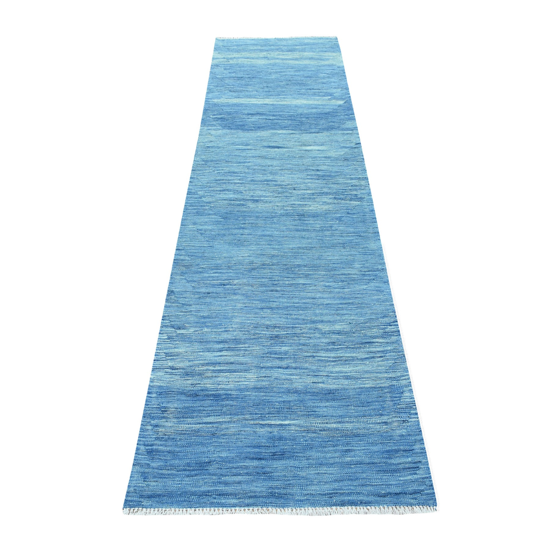 "2'8""x9'10"" Blue Kilim Pure Wool Hand Woven Runner Oriental Rug  53817"