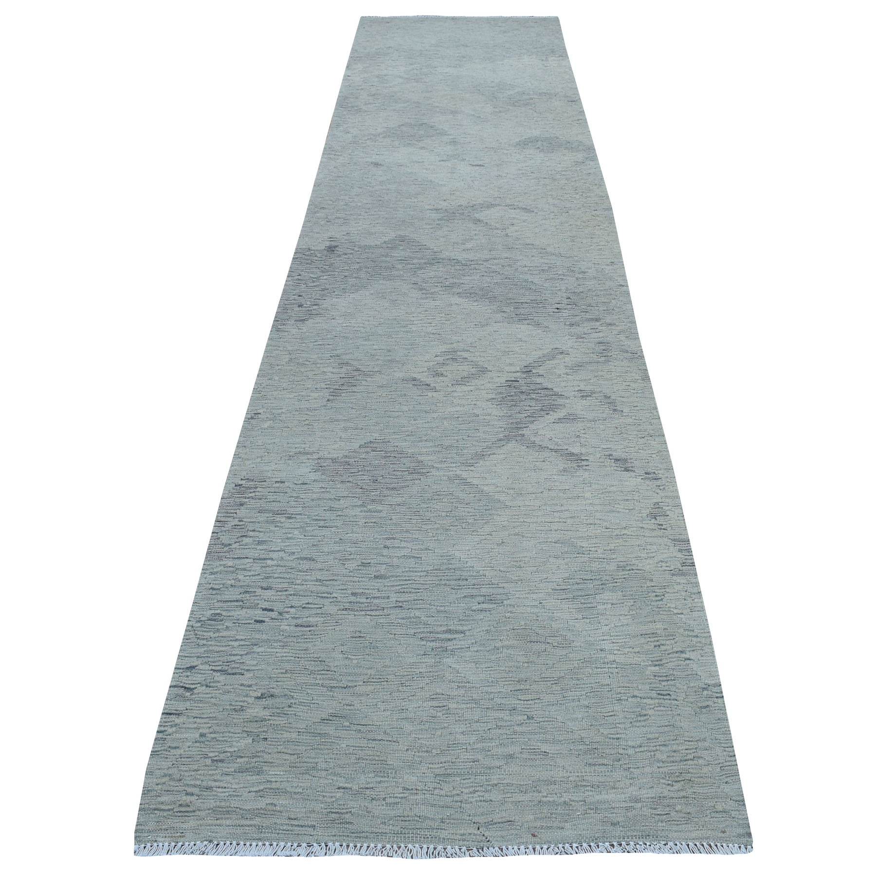 """3'1""""X14' Gray Shades Flat Weave Kilim Pure Wool Hand Woven Runner Oriental Rug moaec8a9"""