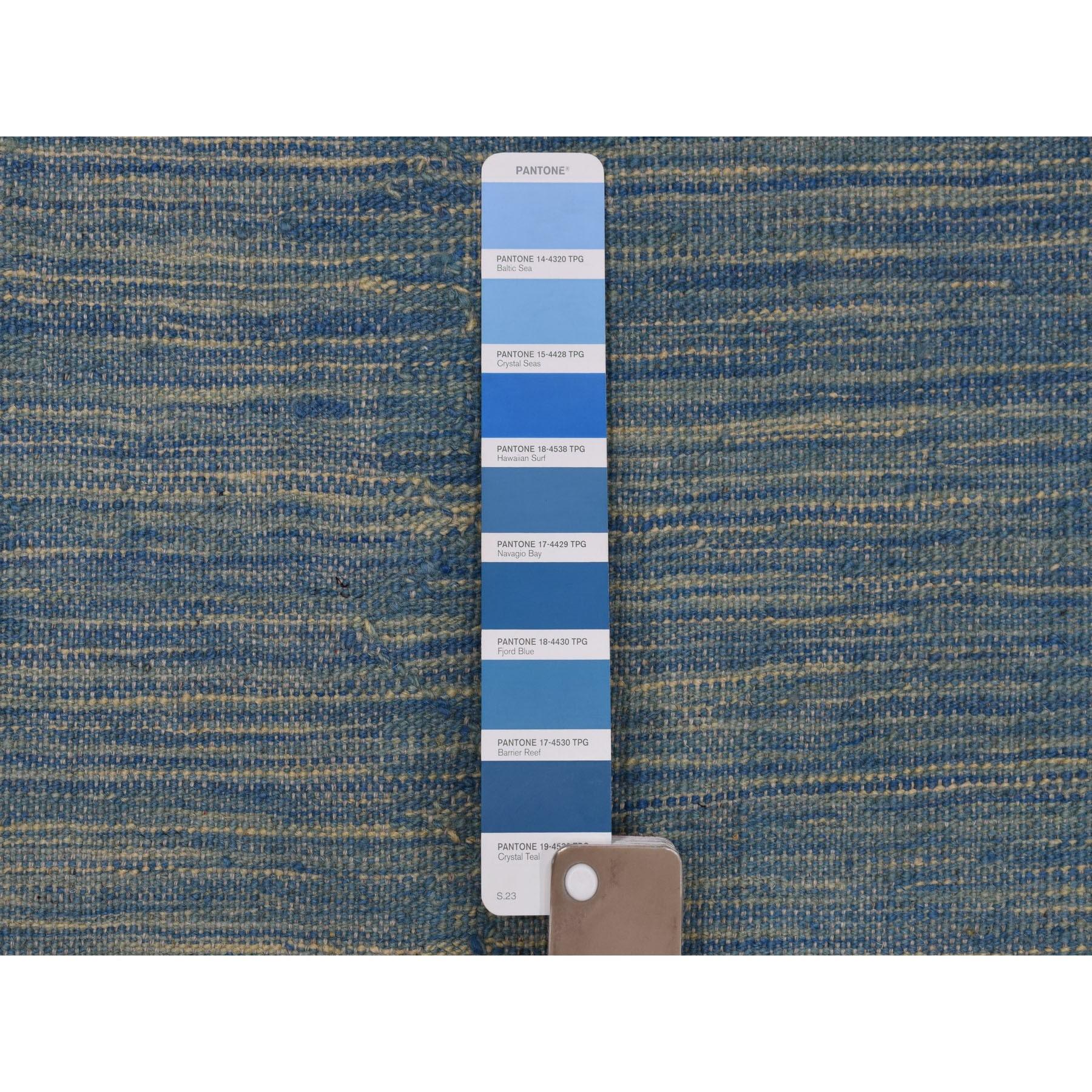 "2'8""x16'5"" Blue Shades Reversible Kilim Pure Wool Hand Woven XL Runner Oriental Rug"