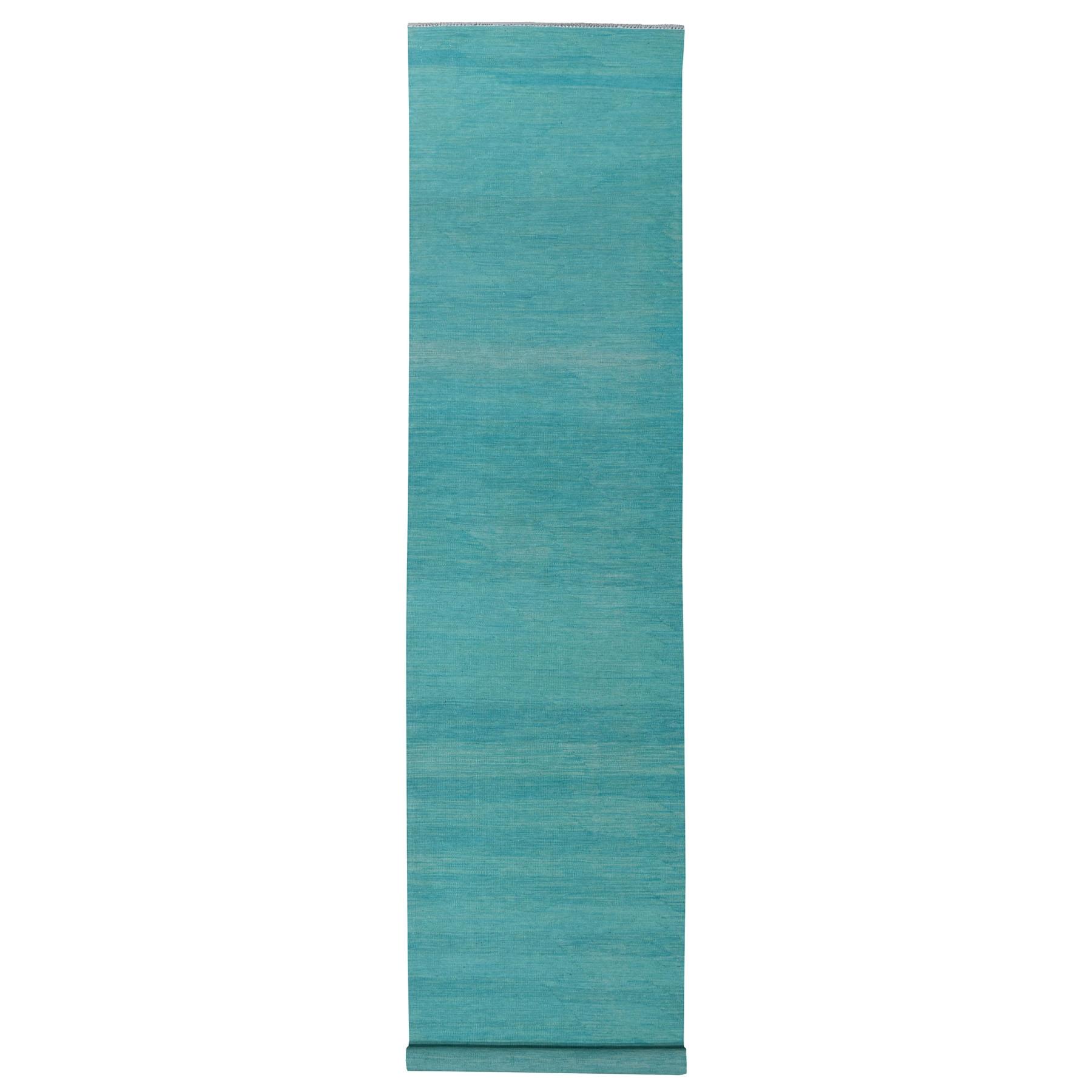 "2'7""X16'1"" Aqua Marine Shades Reversible Kilim Pure Wool Hand Woven Xl Runner Oriental Rug moaec8ba"