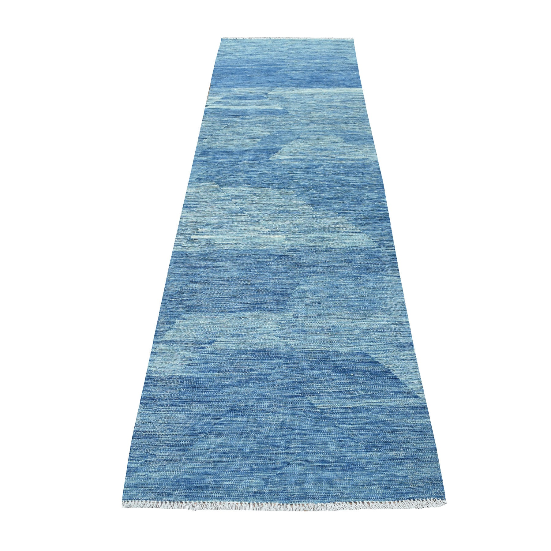 "2'9""x9'8"" Blue Shades Reversible Kilim Pure Wool Hand Woven Runner Oriental Rug"