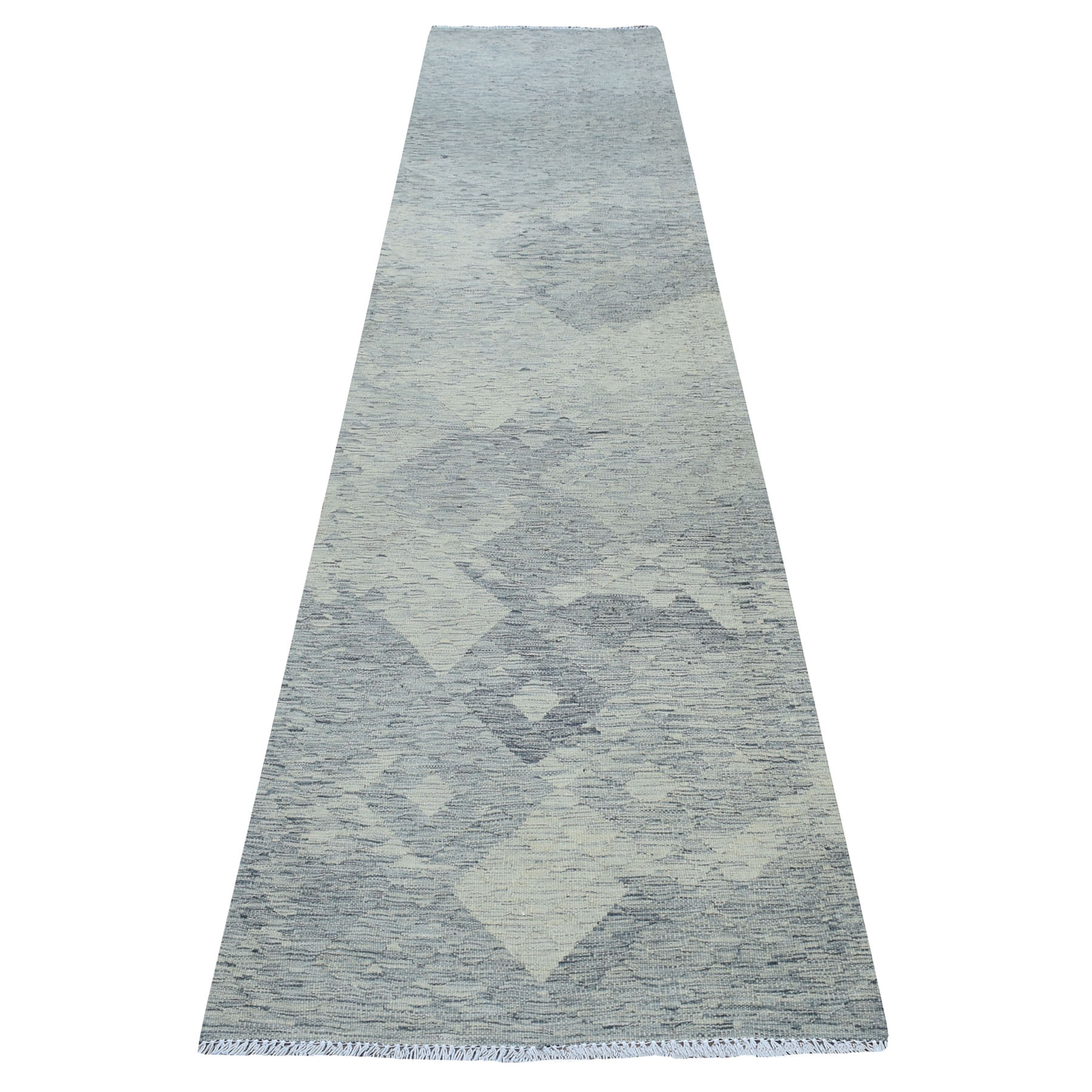 "2'10""x12'8"" Gray Shades Reversible Kilim Pure Wool Hand Woven Runner Oriental Rug"