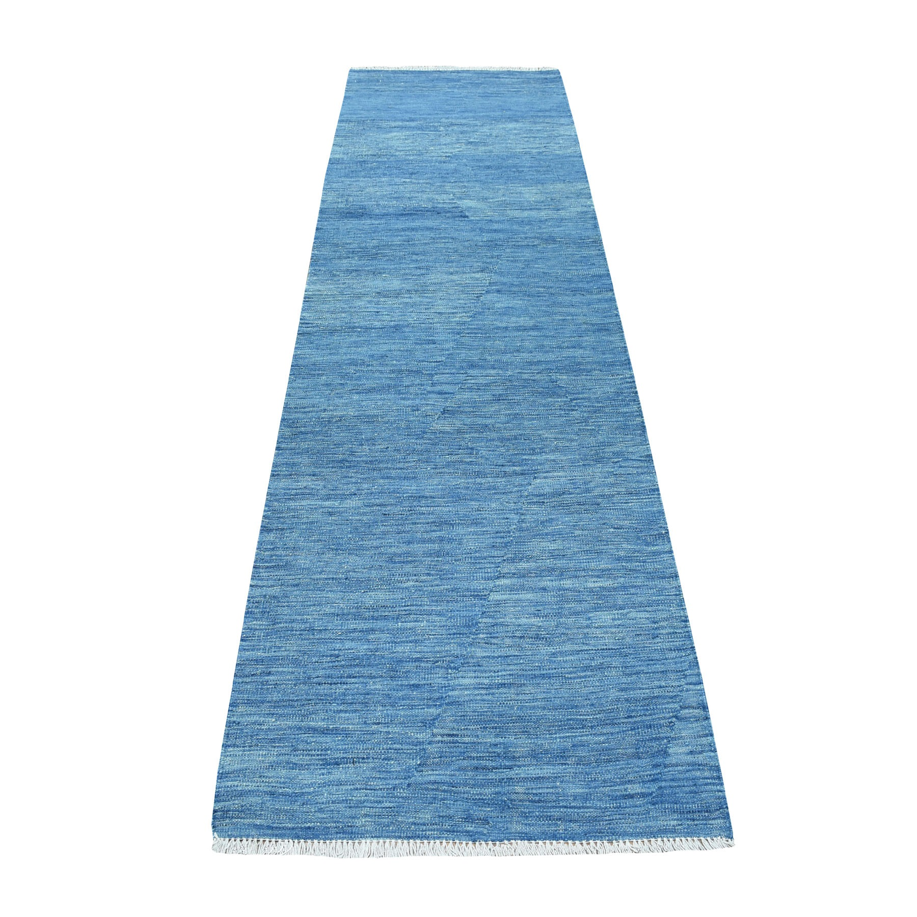 "2'8""X9'8"" Blue Shades Reversible Kilim Pure Wool Hand Woven Runner Oriental Rug moaec8be"