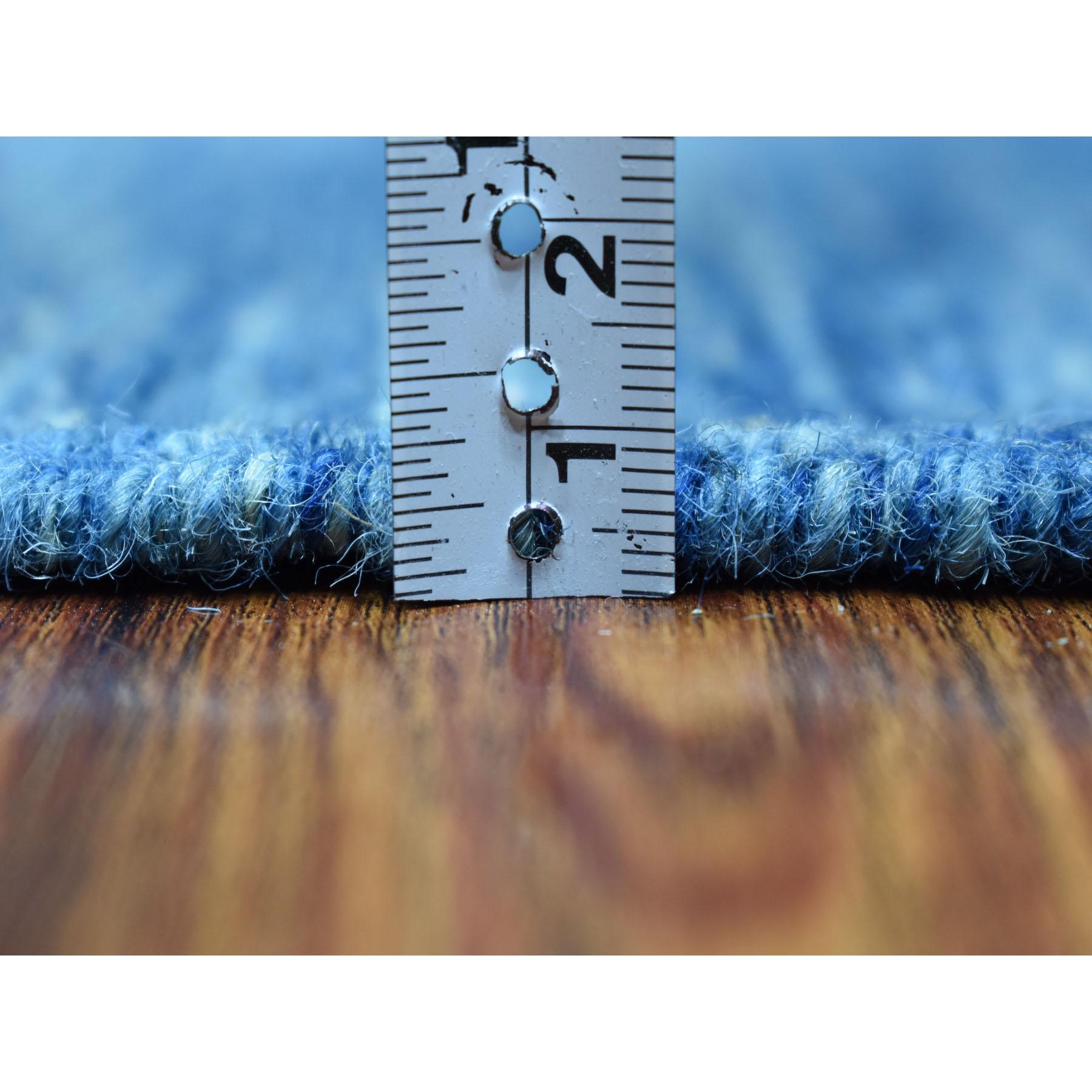 "2'8""x9'8"" Blue Shades Reversible Kilim Pure Wool Hand Woven Runner Oriental Rug"