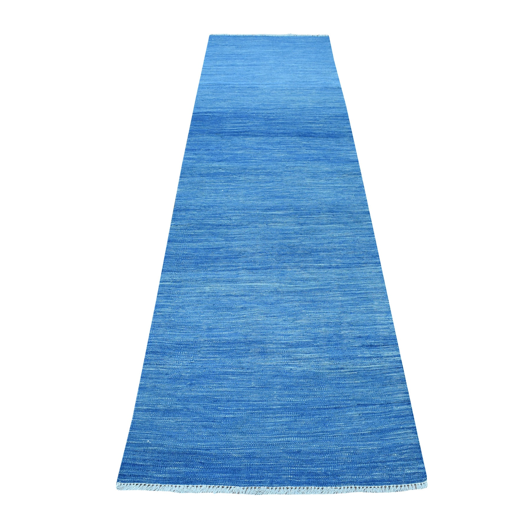 "2'7""x9'10"" Blue Shades Reversible Kilim Pure Wool Hand Woven Runner Oriental Rug"