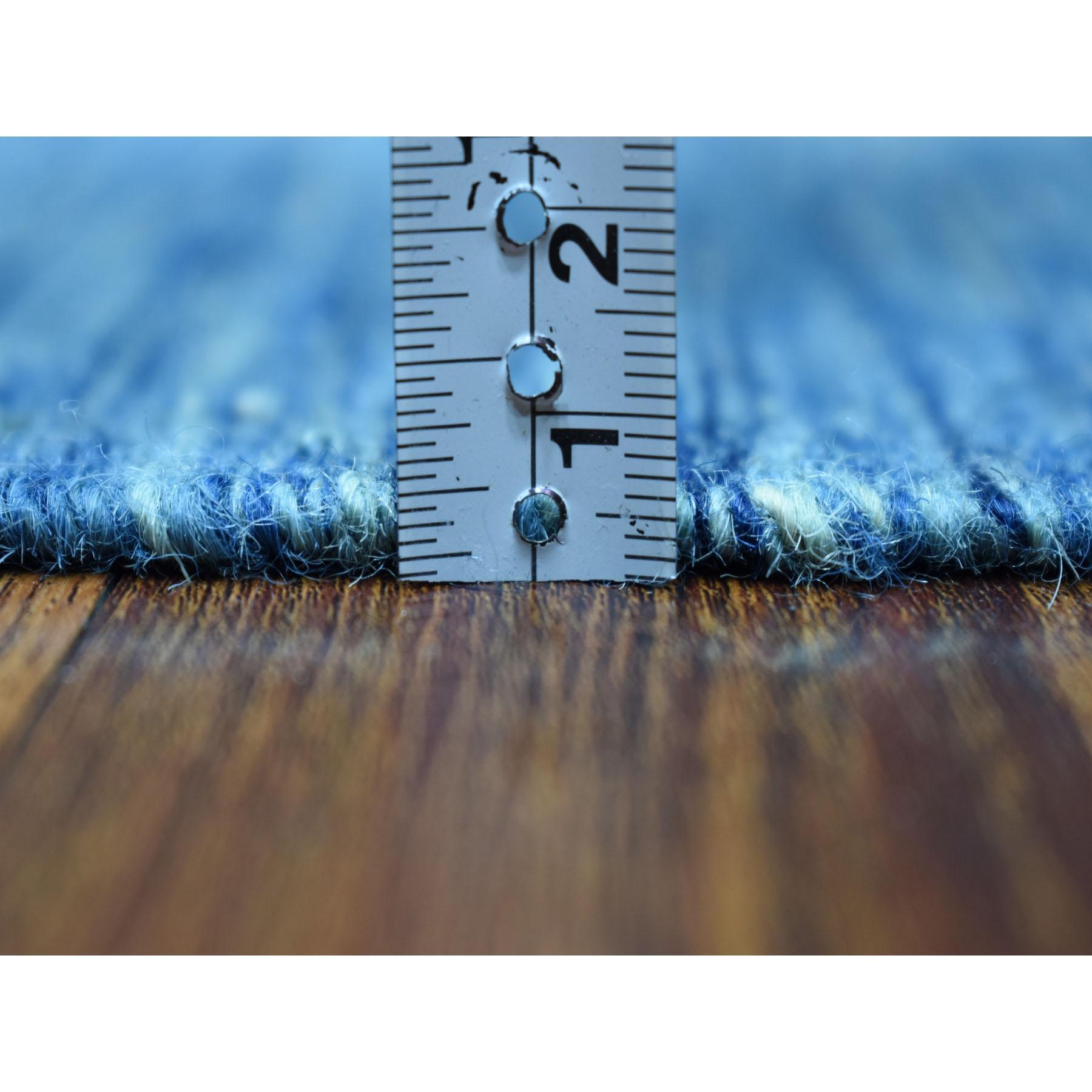 "2'9""x9'8"" Blue Shades Reversible Kilim Pure Wool Hand Woven Runner Oriental Rug"