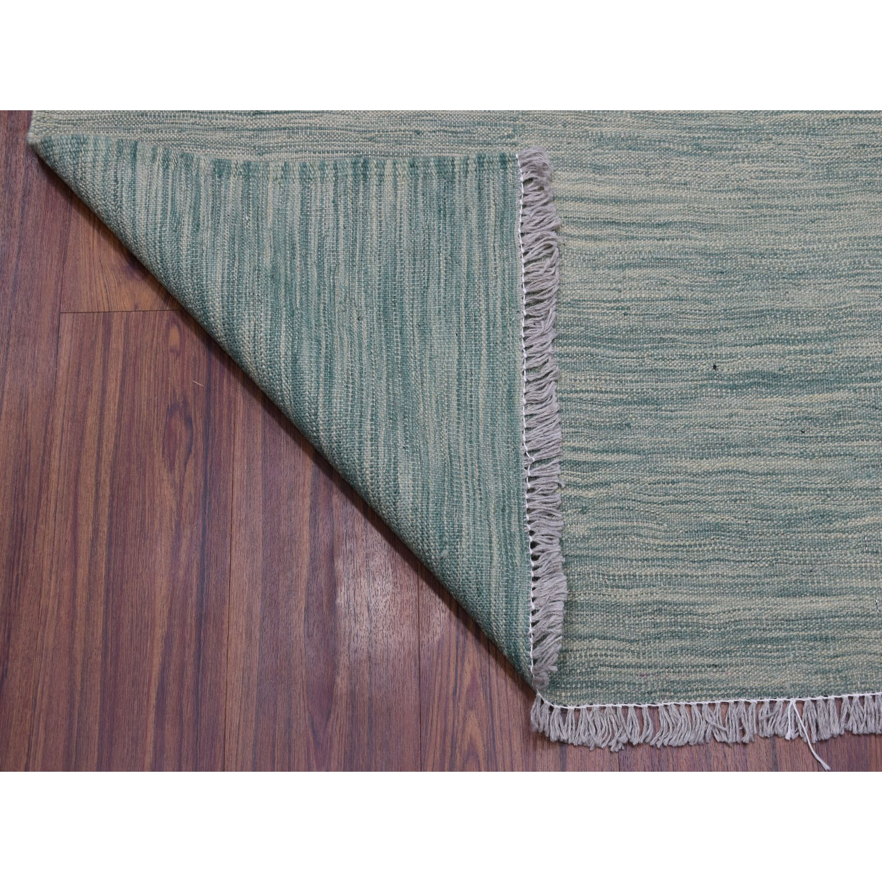 "2'9""x16'4"" Green Shades Reversible Kilim Pure Wool Hand Woven Runner Oriental Rug"