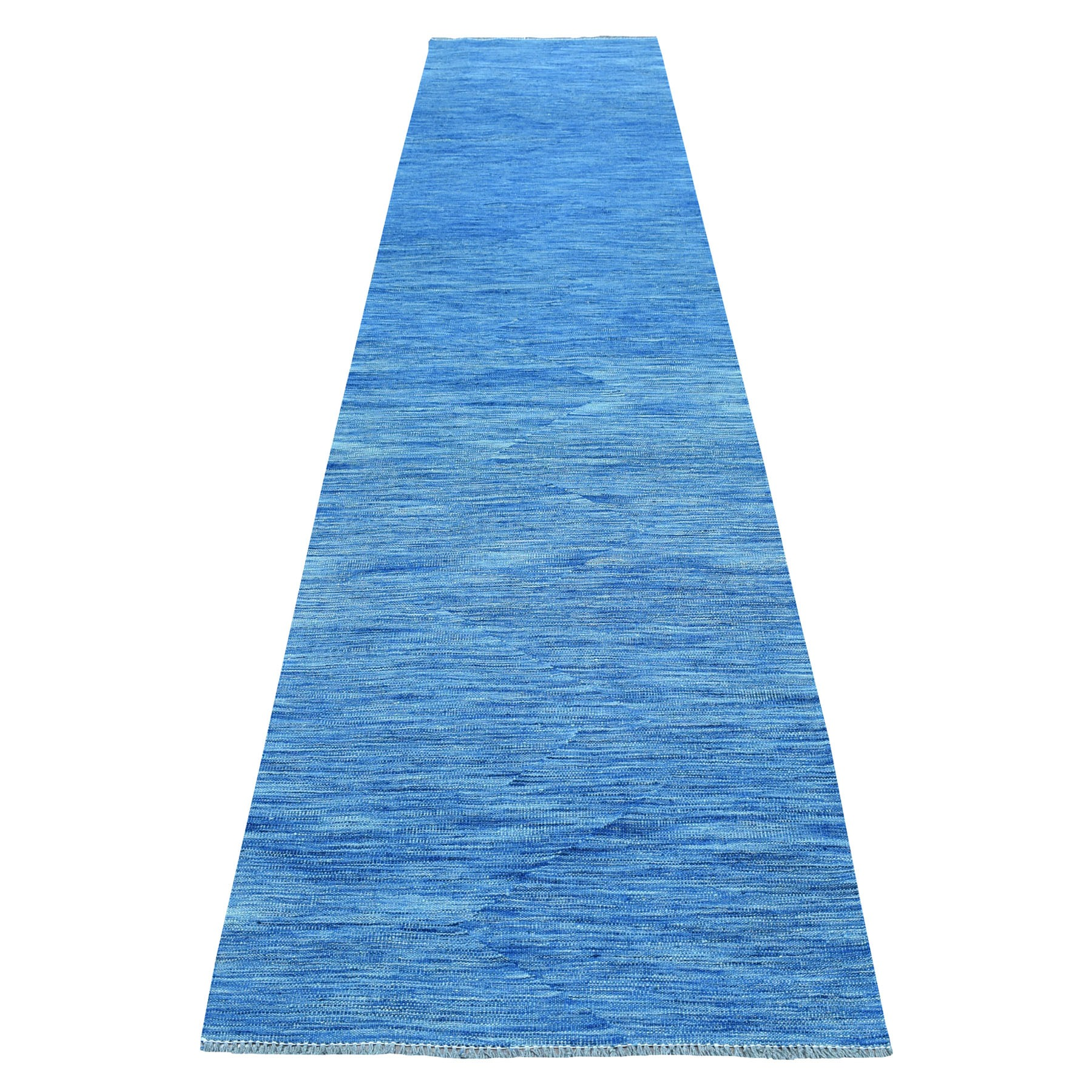 "2'9""X12'10"" Blue Shades Reversible Kilim Pure Wool Hand Woven Runner Oriental Rug moaec8b9"
