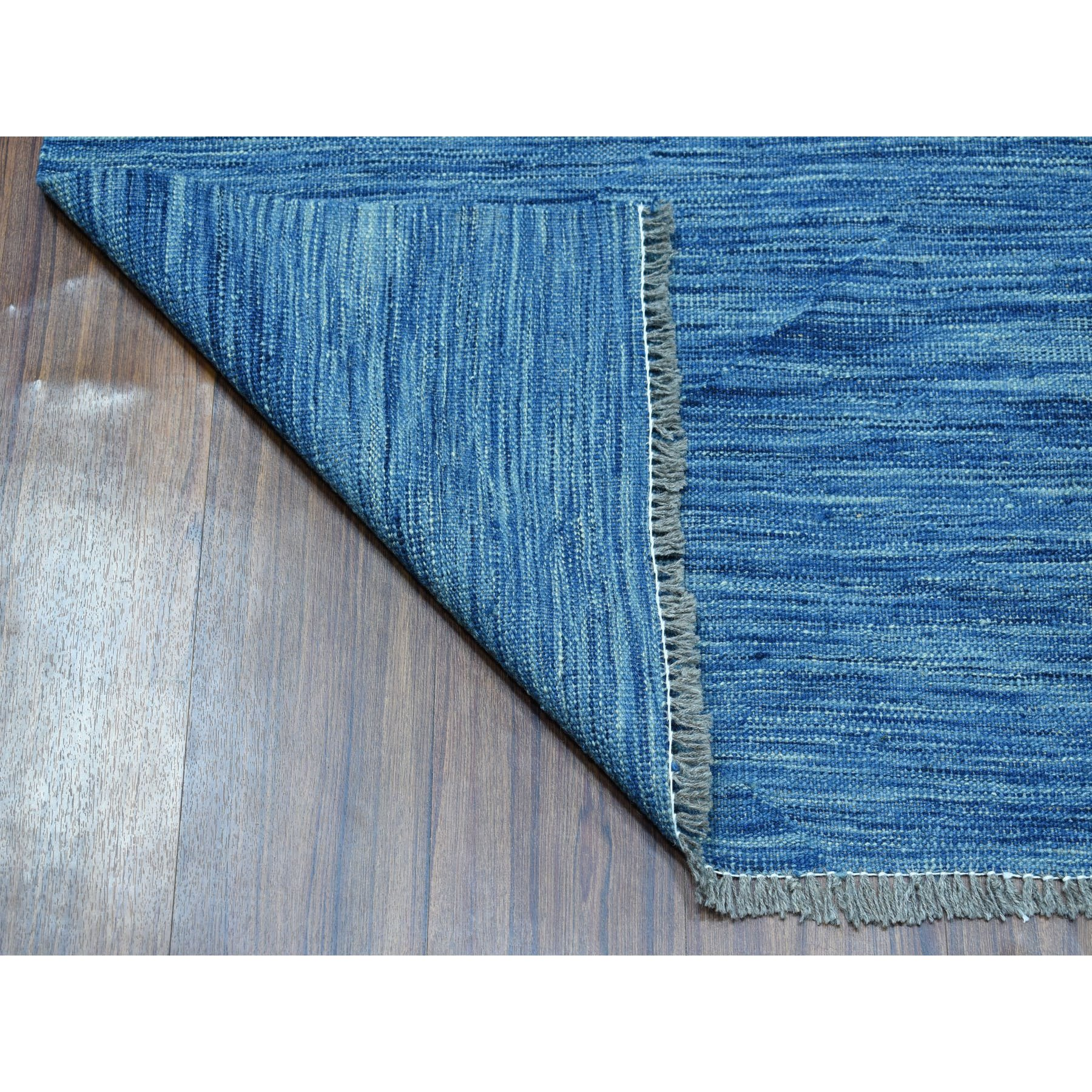 "2'9""x12'10"" Blue Shades Reversible Kilim Pure Wool Hand Woven Runner Oriental Rug"