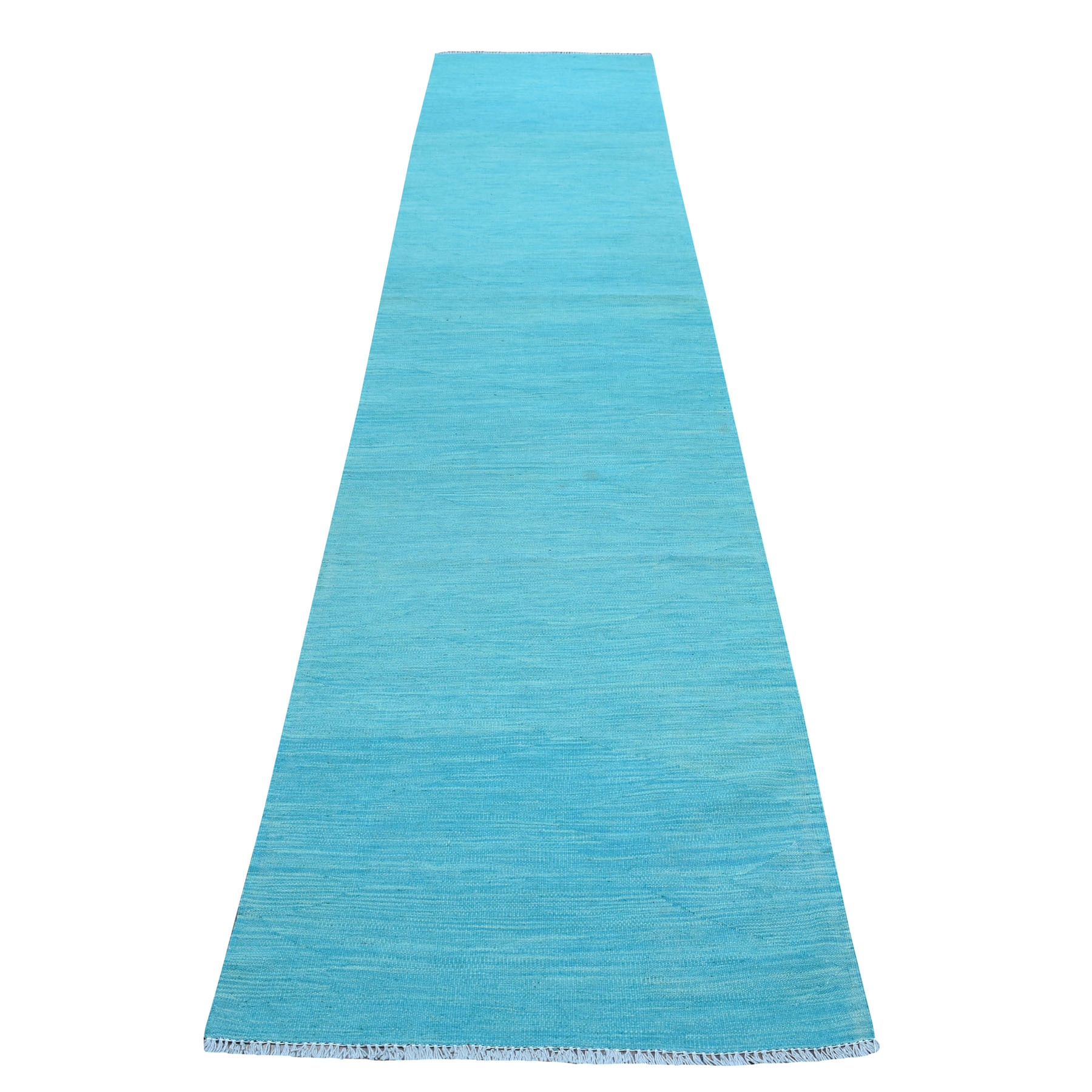 "2'8""X13' Aqua Marine Shades Reversible Kilim Pure Wool Hand Woven Runner Oriental Rug moaec8c0"