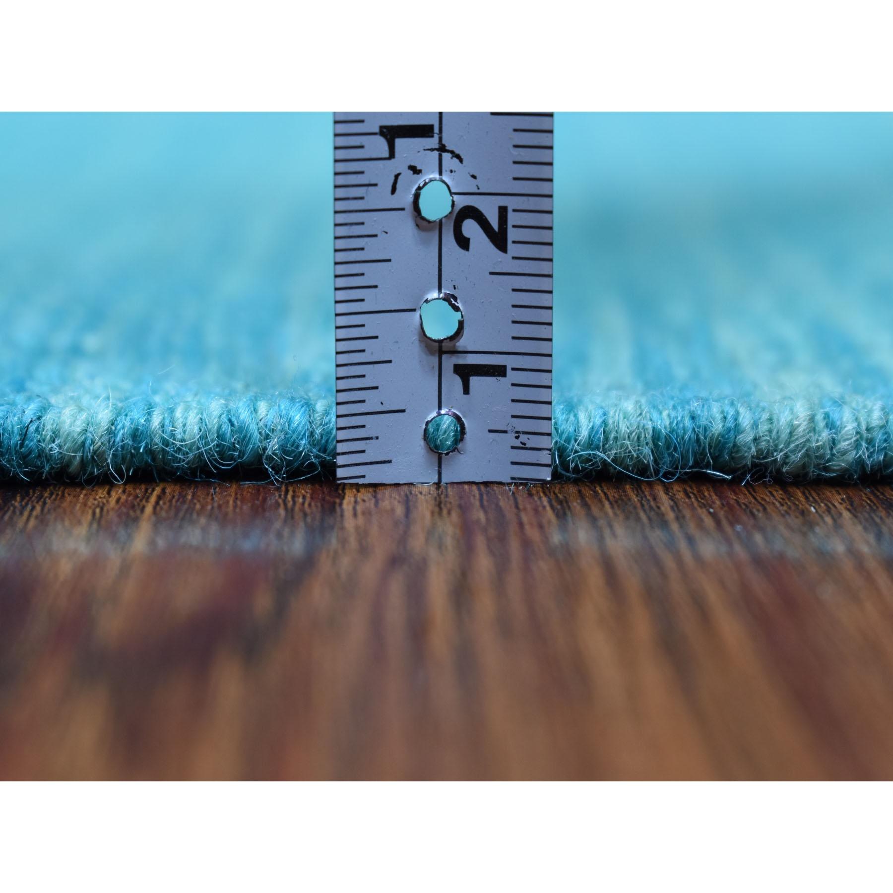 "2'8""x13' Aqua Marine Shades Reversible Kilim Pure Wool Hand Woven Runner Oriental Rug"