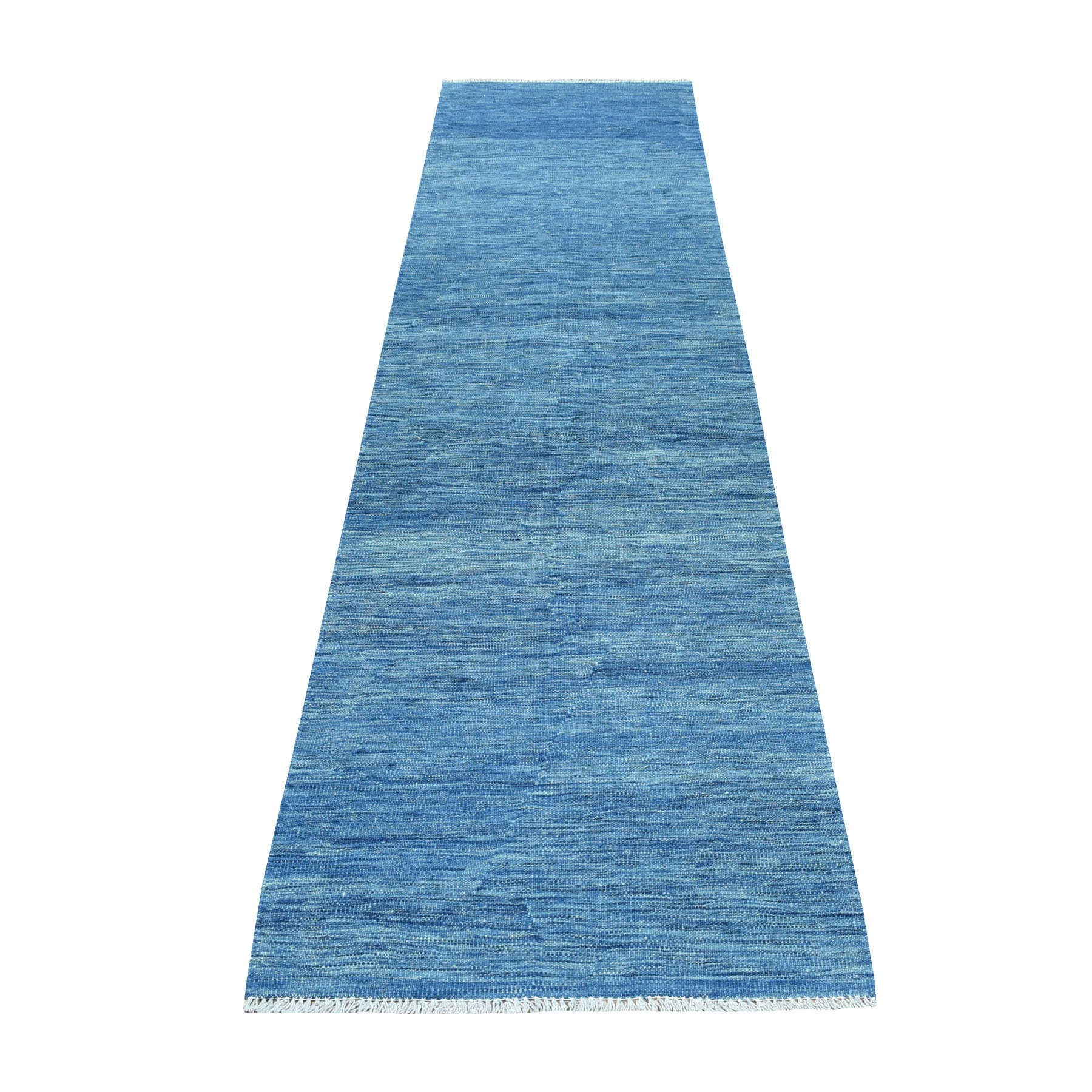 "2'7""X9'7"" Blue Shades Reversible Kilim Pure Wool Hand Woven Runner Oriental Rug moaec8ca"