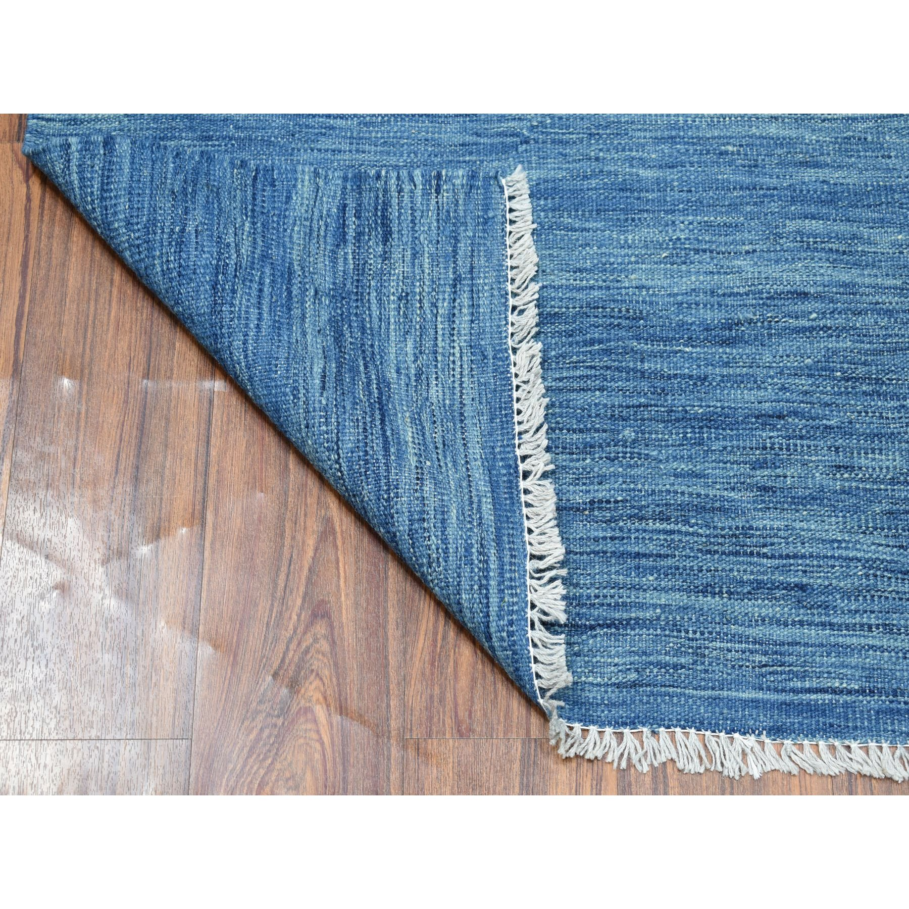 "2'7""x9'7"" Blue Shades Reversible Kilim Pure Wool Hand Woven Runner Oriental Rug"