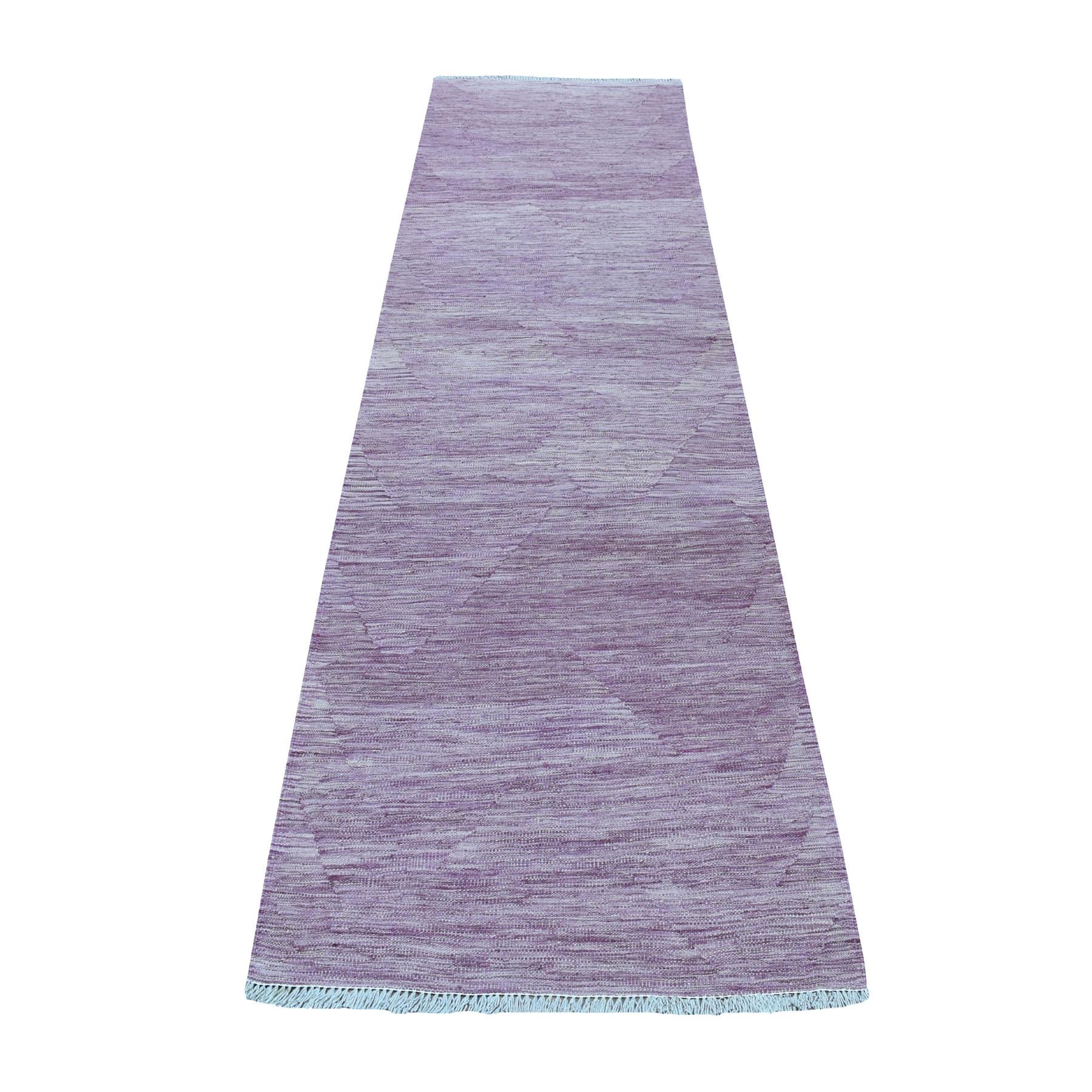 "3'x9'8"" Lavender shades Reversible Kilim Pure Wool Hand Woven Runner Oriental Rug"