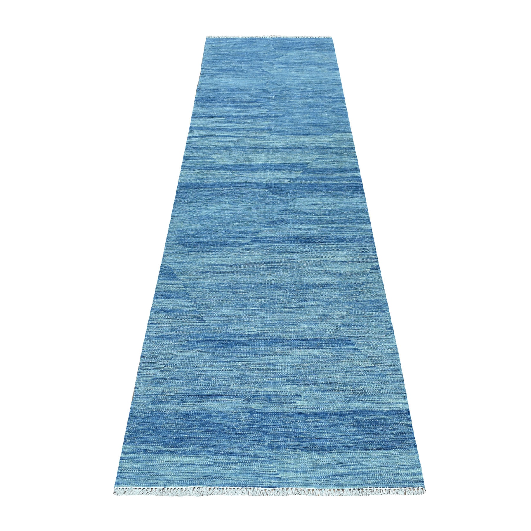 "2'7""X9'8"" Blue Shades Reversible Kilim Pure Wool Hand Woven Runner Oriental Rug moaec8cc"
