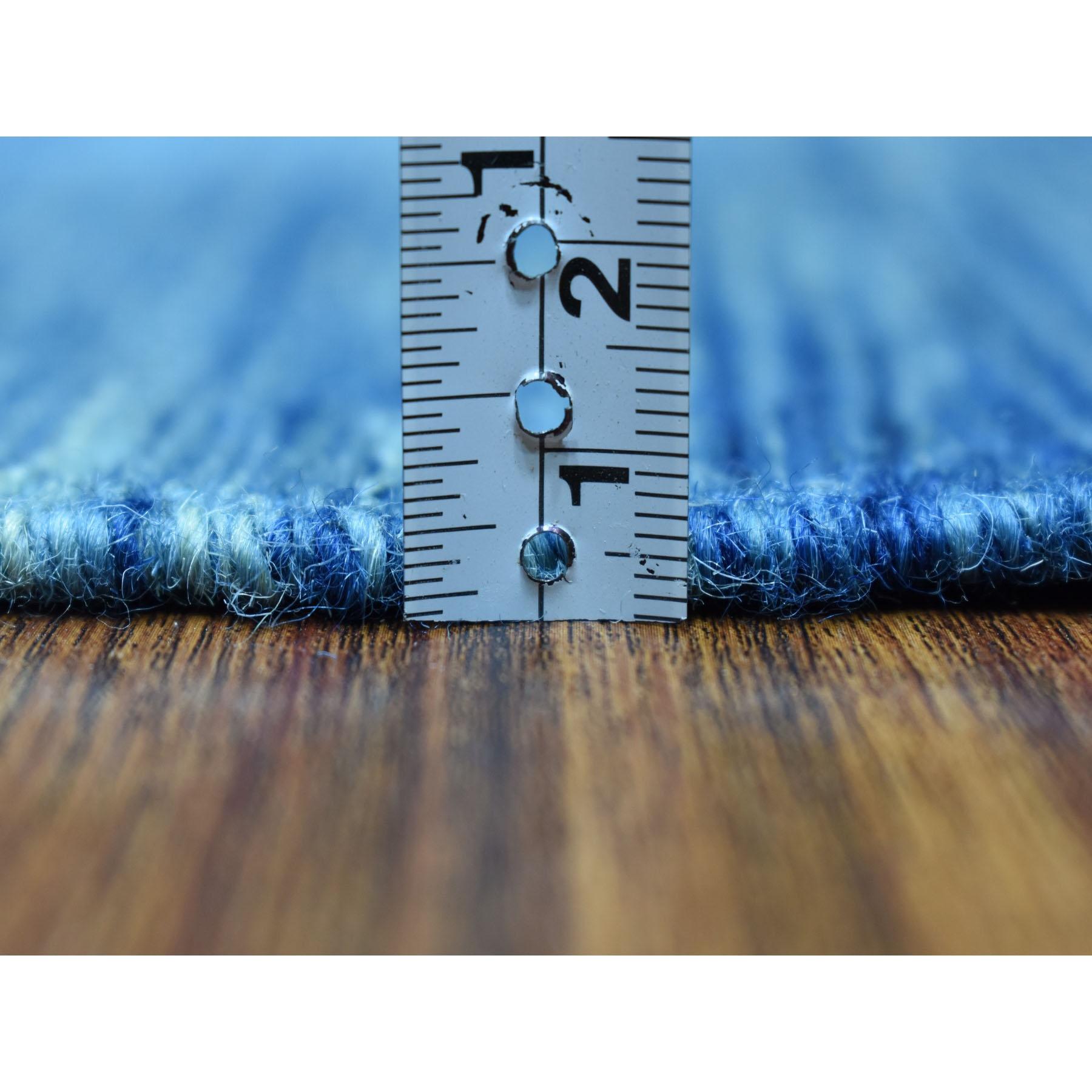"2'7""x9'8"" Blue Shades Reversible Kilim Pure Wool Hand Woven Runner Oriental Rug"