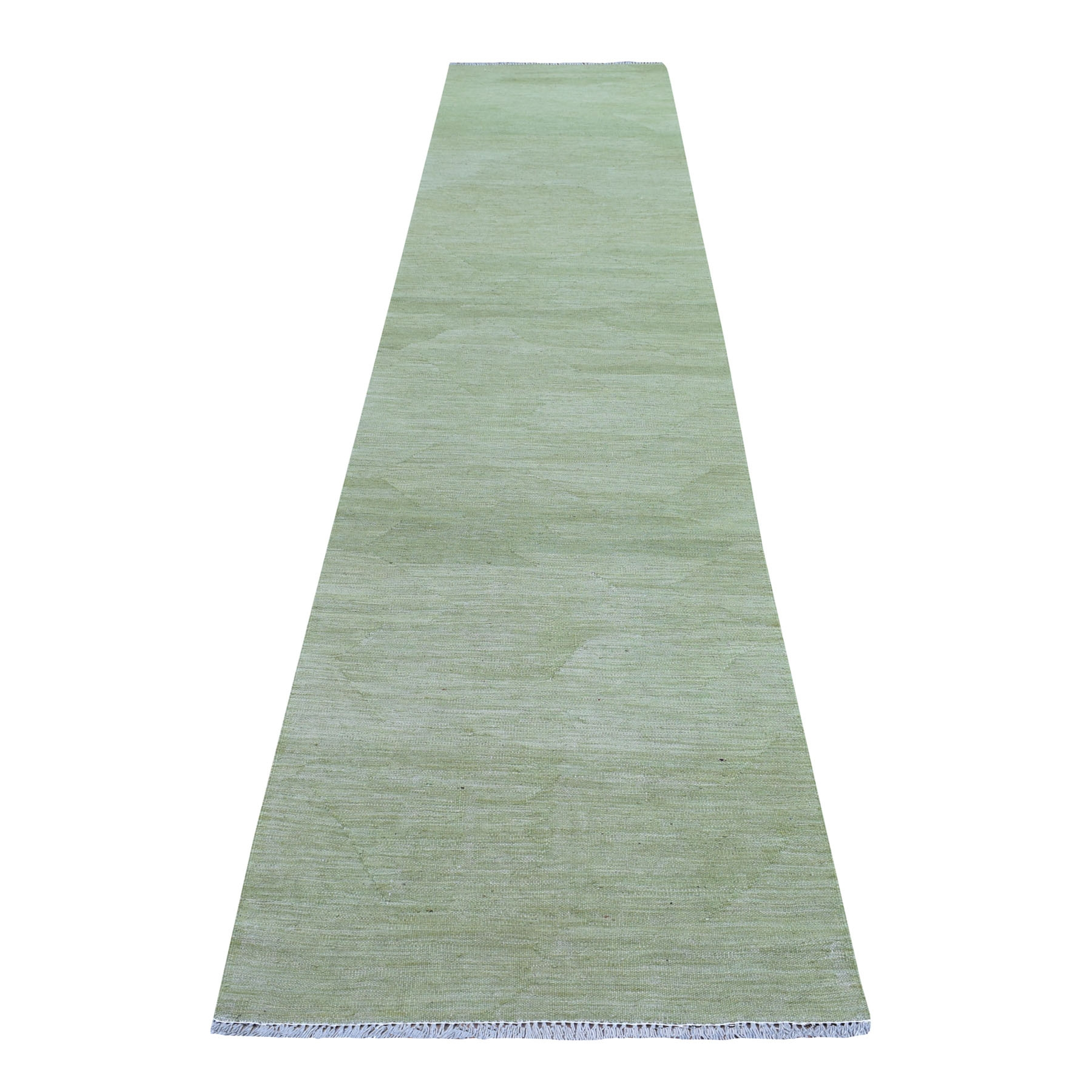 "2'8""X13' Green Shades Flat Weave Kilim Pure Wool Hand Woven Runner Oriental Rug moaec8cd"