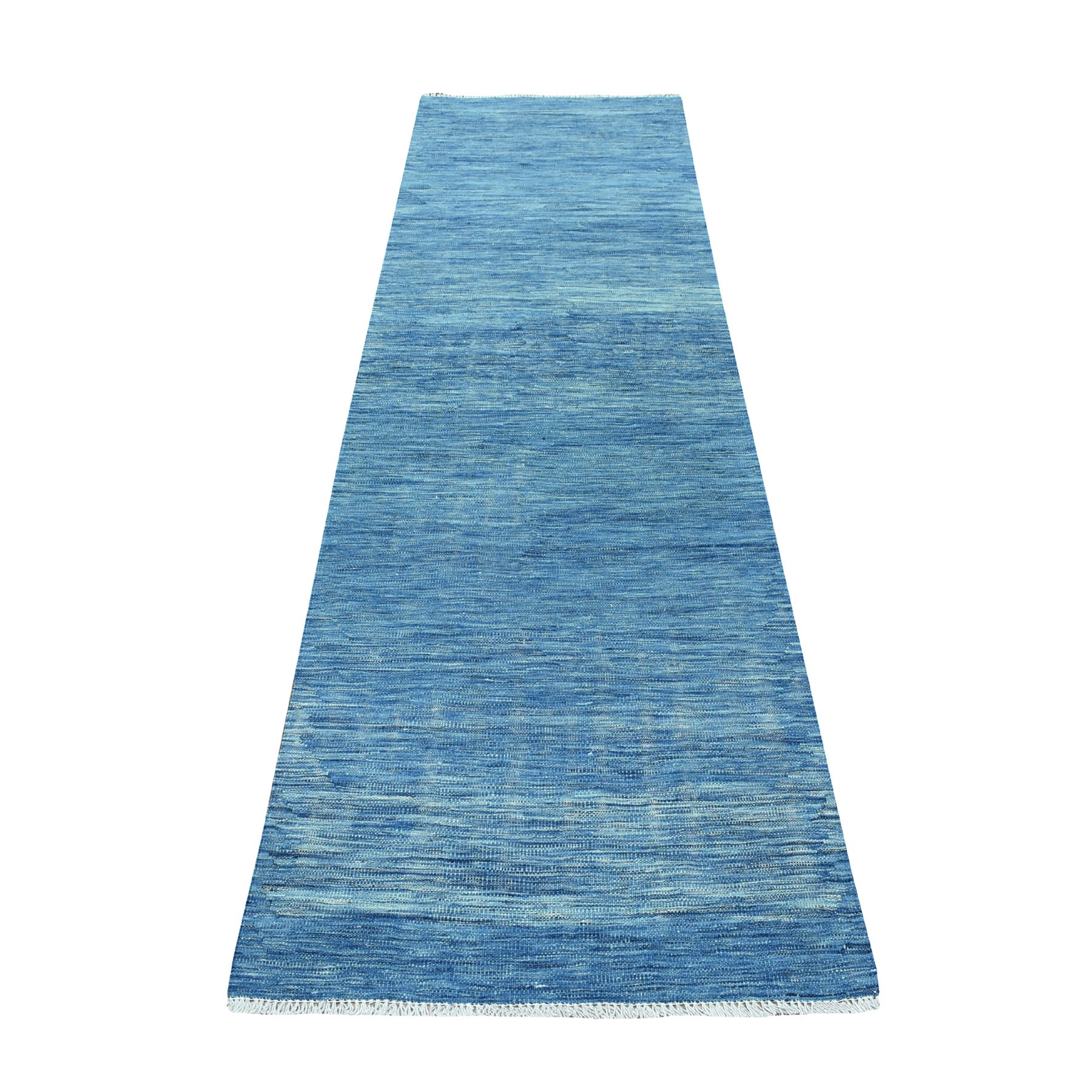 "2'10""X10' Blue Shades Flat Weave Kilim Pure Wool Hand Woven Runner Oriental Rug moaec8ce"