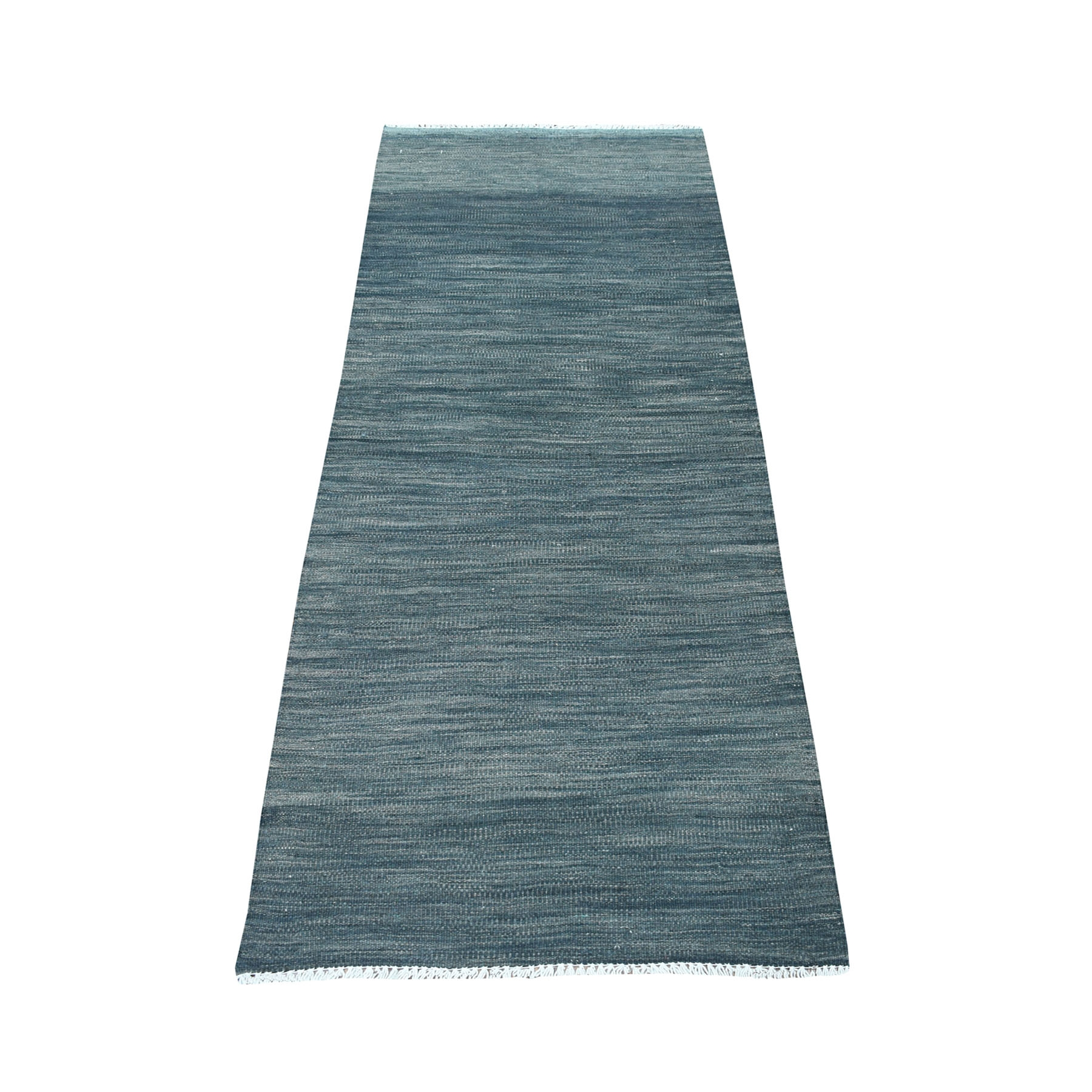 "2'4""X6'4"" Charcoal Gray Shades Flat Weave Kilim Pure Wool Hand Woven Runner Oriental Rug moaec8dc"