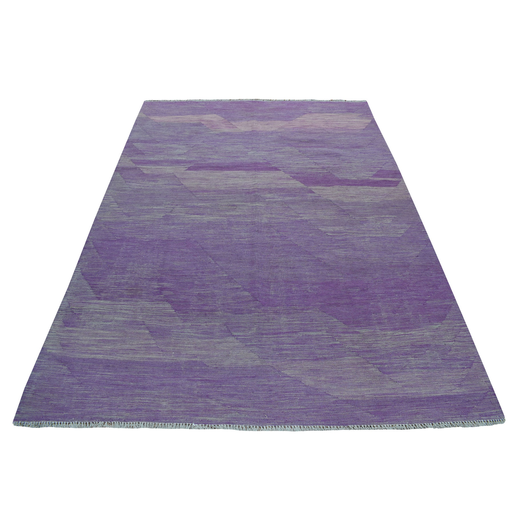 "5'8""X8' Lavender Shades Flat Weave Kilim Pure Wool Hand Woven Oriental Rug moaec8d6"