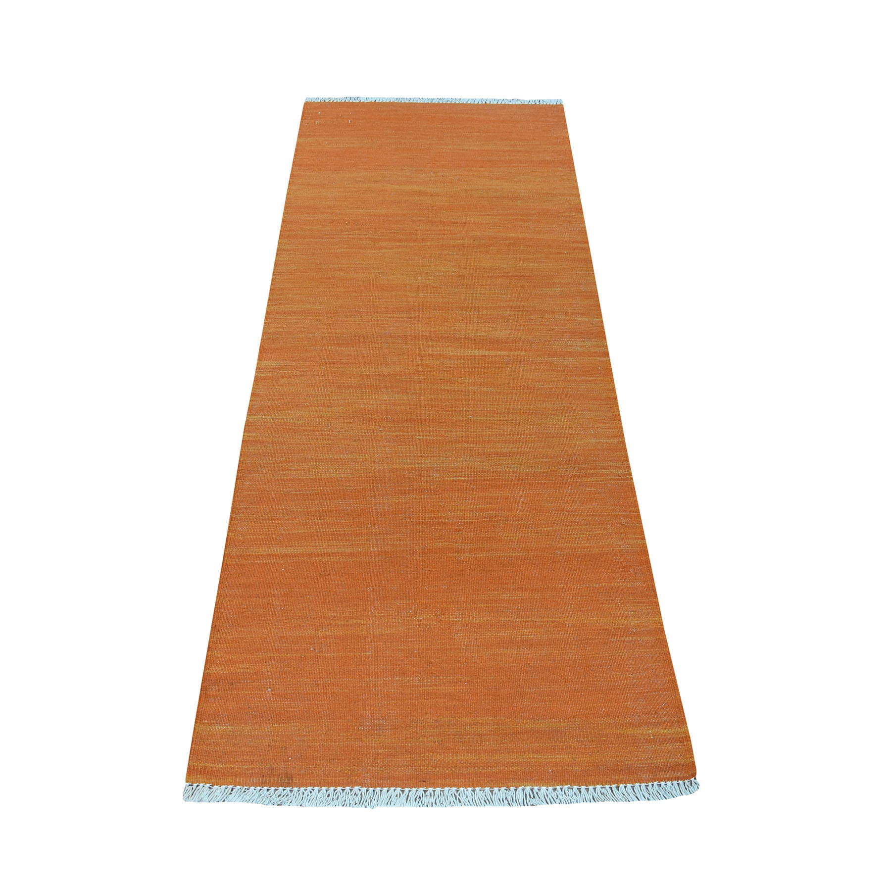 "2'4""X6'7"" Orange Shades Flat Weave Kilim Pure Wool Hand Woven Runner Oriental Rug moaec8eb"