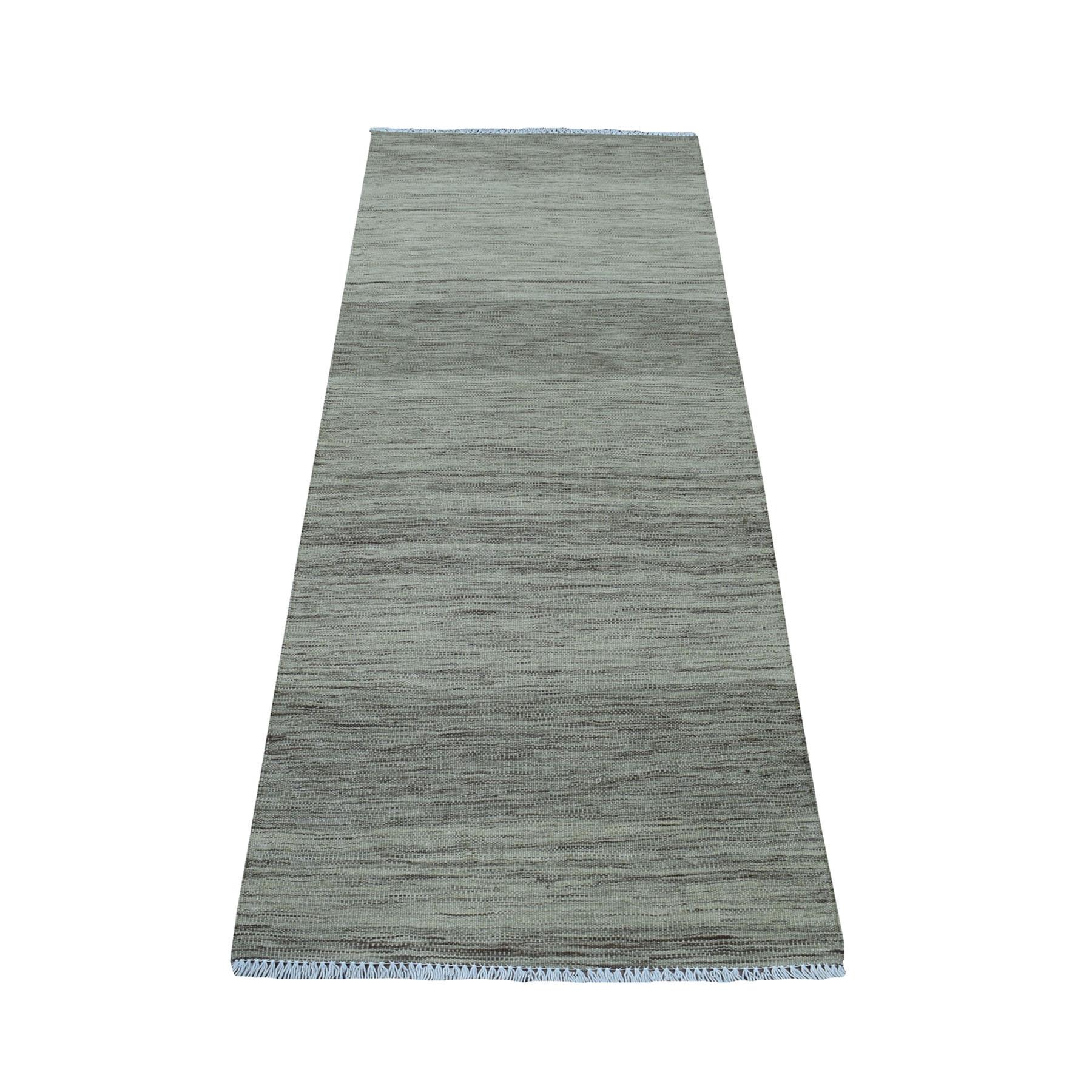 "2'4""X6'4"" Natural Shades Reversible Kilim Pure Wool Hand Woven Runner Oriental Rug moaec8e6"