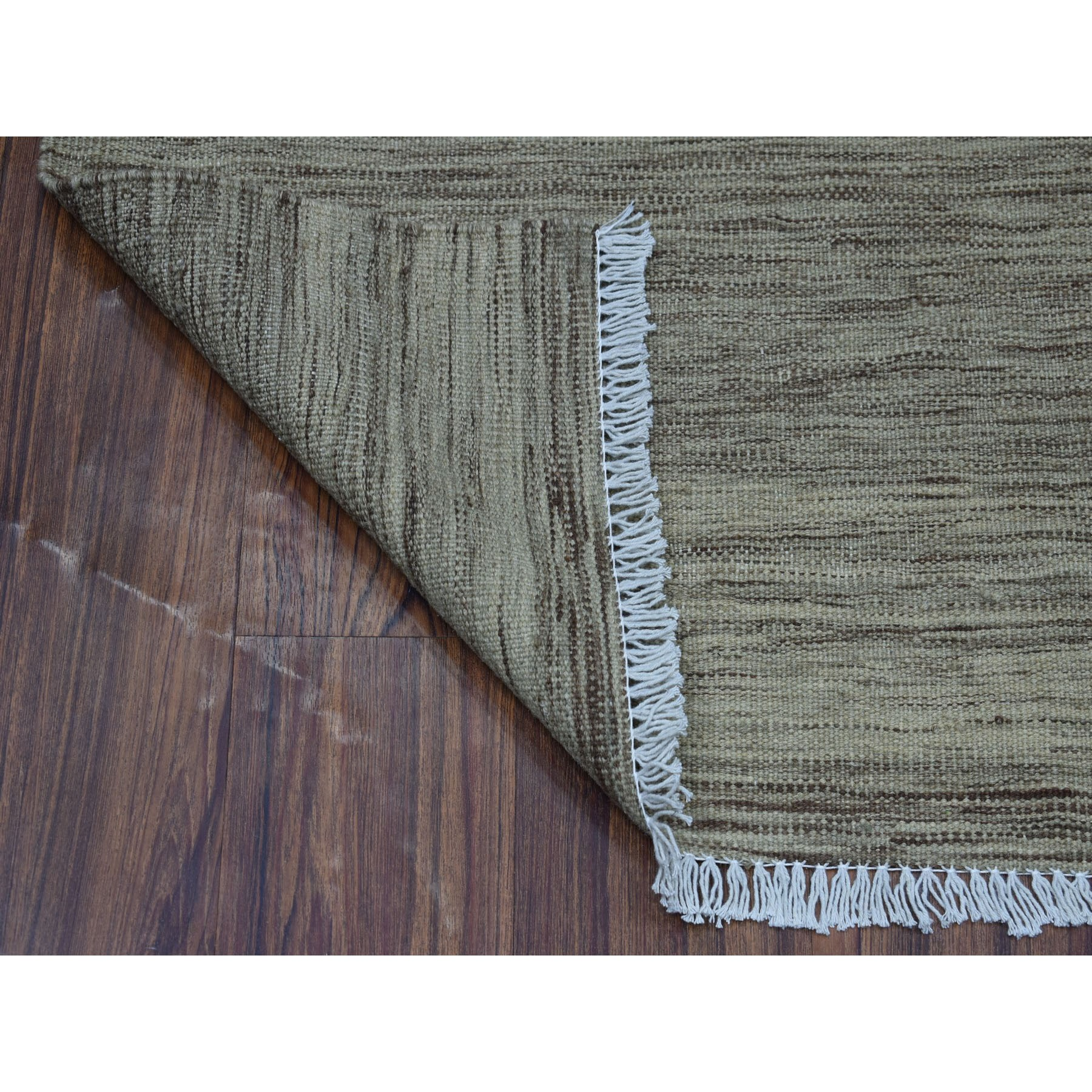"2'4""x6'4"" Natural Shades Reversible Kilim Pure Wool Hand Woven Runner Oriental Rug"