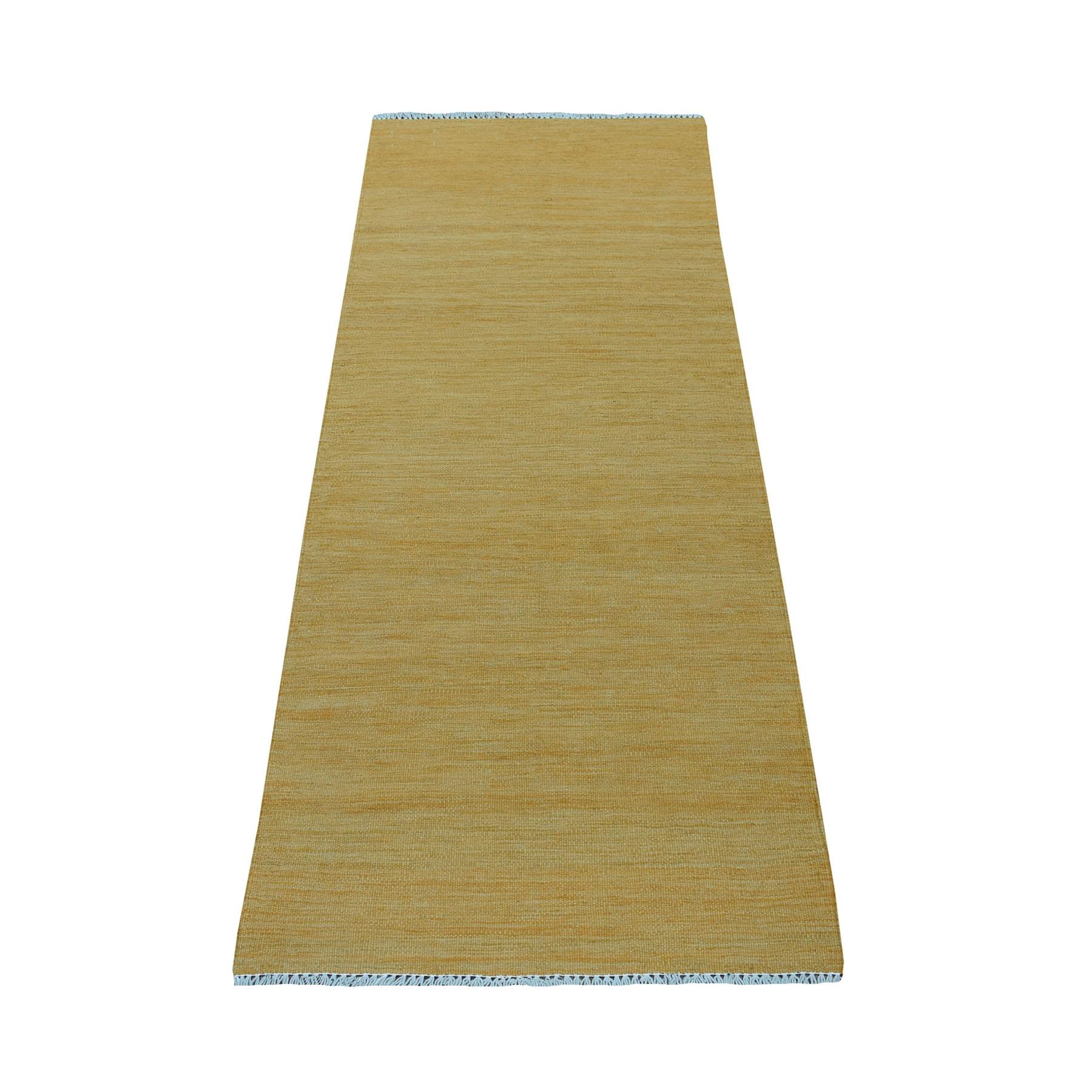 "2'3""x6'4"" Gold Shades Flat Weave Kilim Pure Wool Hand Woven Runner Oriental Rug"