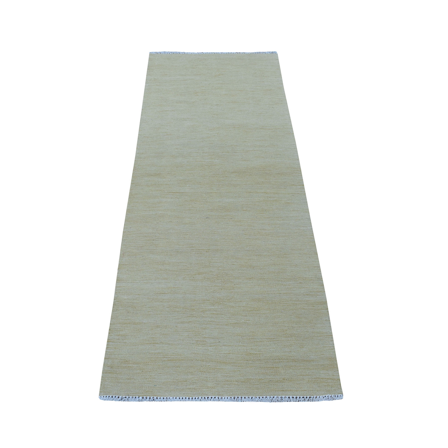 "2'5""X6'3"" Beige Shades Flat Weave Kilim Pure Wool Hand Woven Runner Rug moaec8e8"