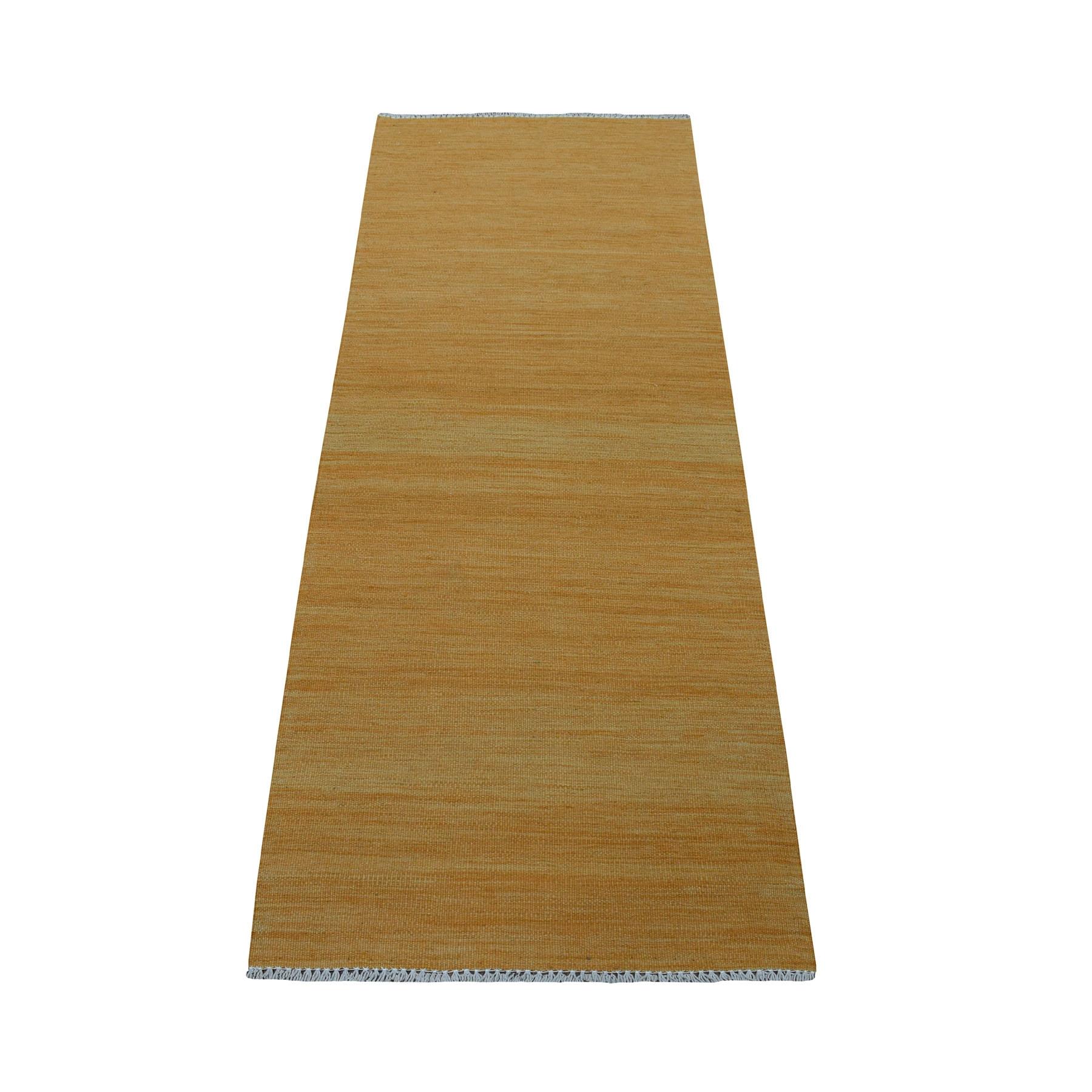 "2'3""X6'4"" Gold Shades Flat Weave Kilim Pure Wool Hand Woven Runner Oriental Rug moaec8e9"