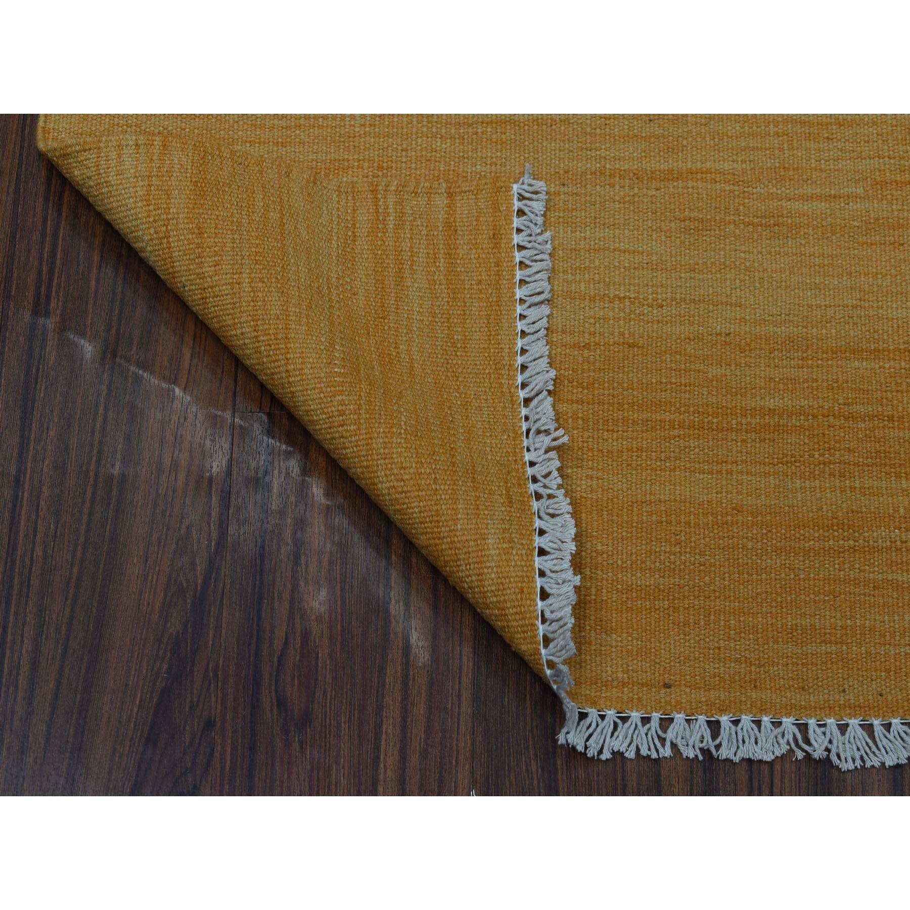 2-3 x6-4  Gold Shades Flat Weave Kilim Pure Wool Hand Woven Runner Oriental Rug