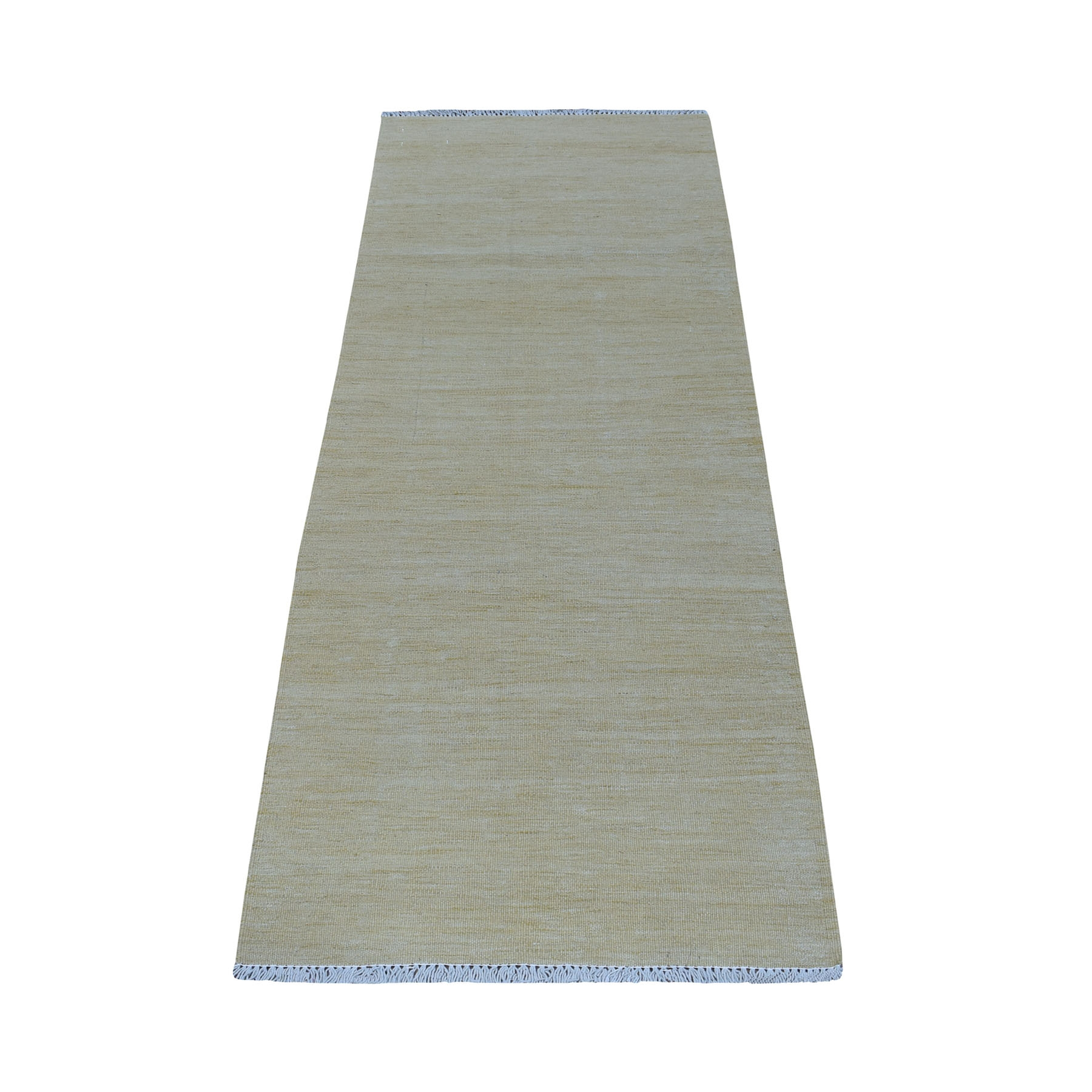 "2'2""X6'2"" Beige Shades Flat Weave Kilim Pure Wool Hand Woven Runner Rug moaec860"