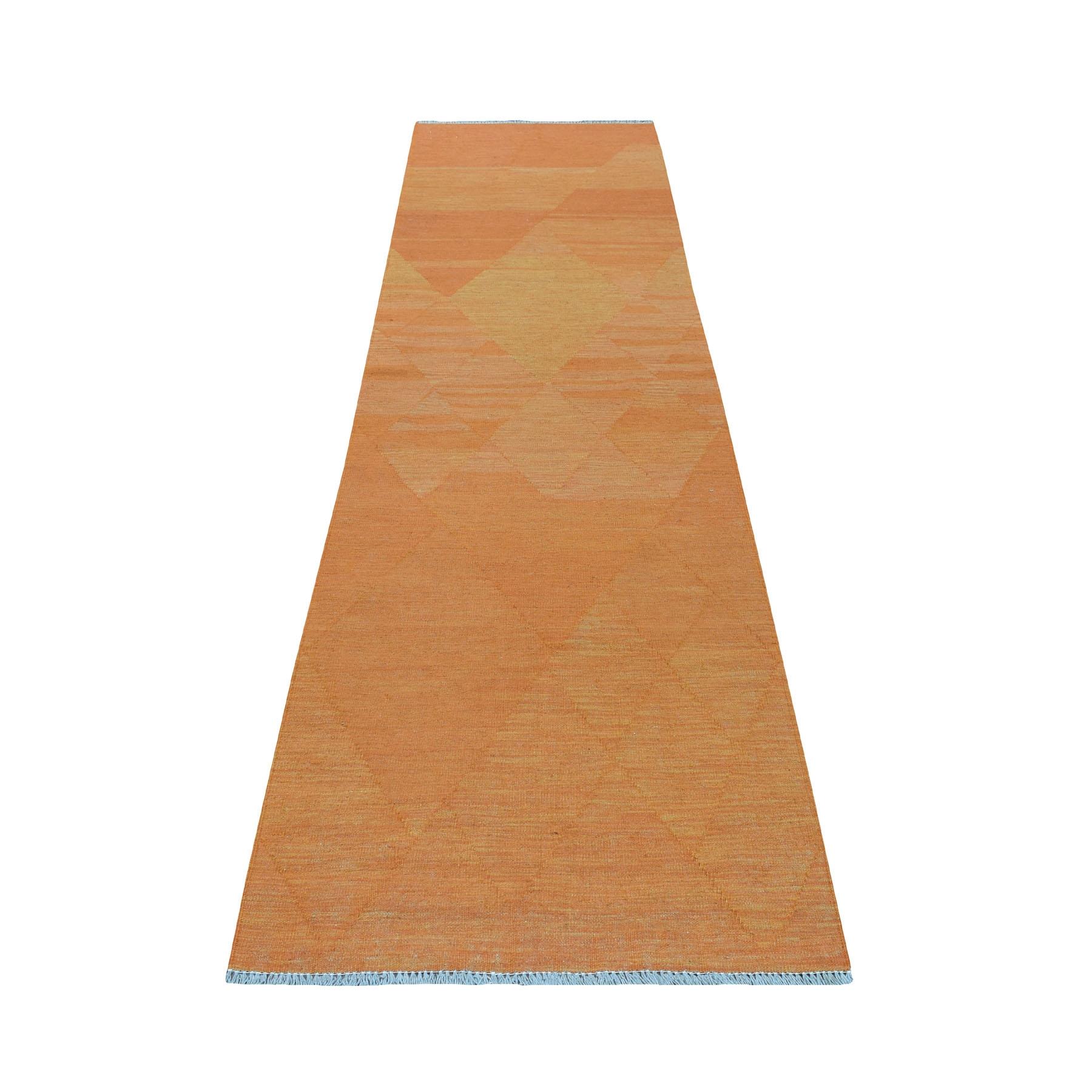 "2'9""X9'10"" Orange Shades Reversible Kilim Pure Wool Hand Woven Runner Oriental Rug moaec86c"
