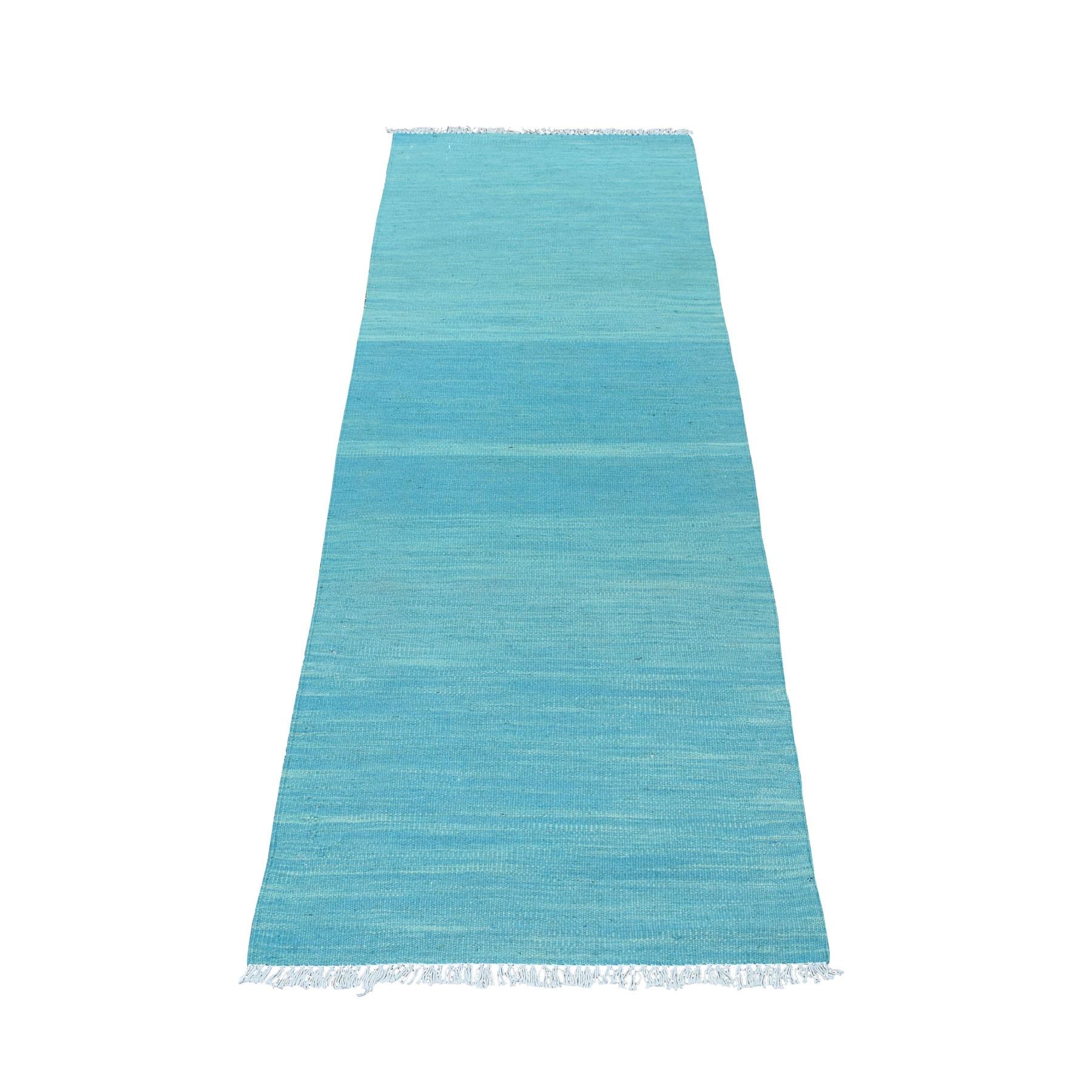 "2'3""X6'6"" Aquamarine Shades Reversible Kilim Wool Hand Woven Runner Oriental Rug moaec869"