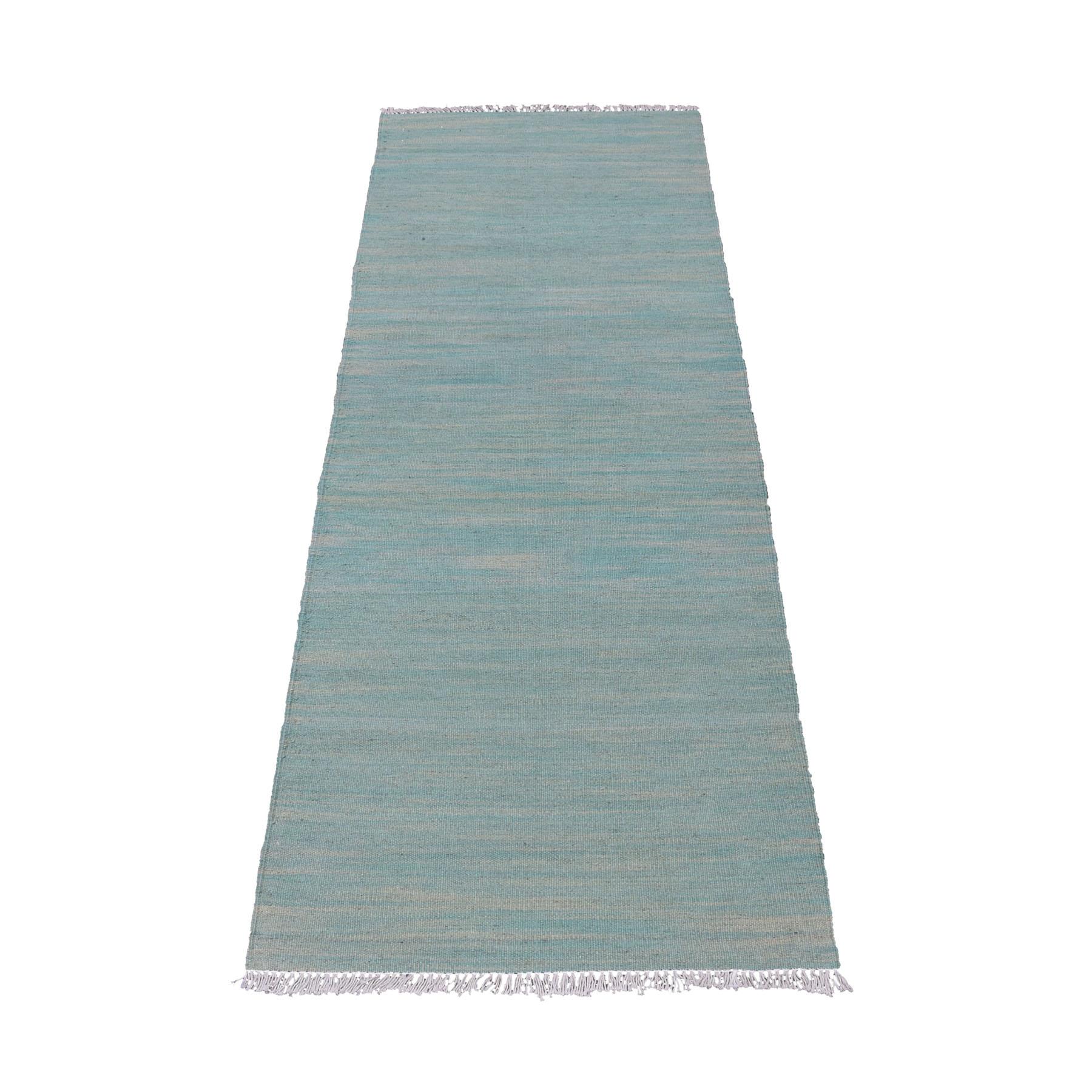 "2'3""X6'3"" Aquamarine Shades Flat Wave Kilim Wool Hand Woven Runner Oriental Rug moaec87a"