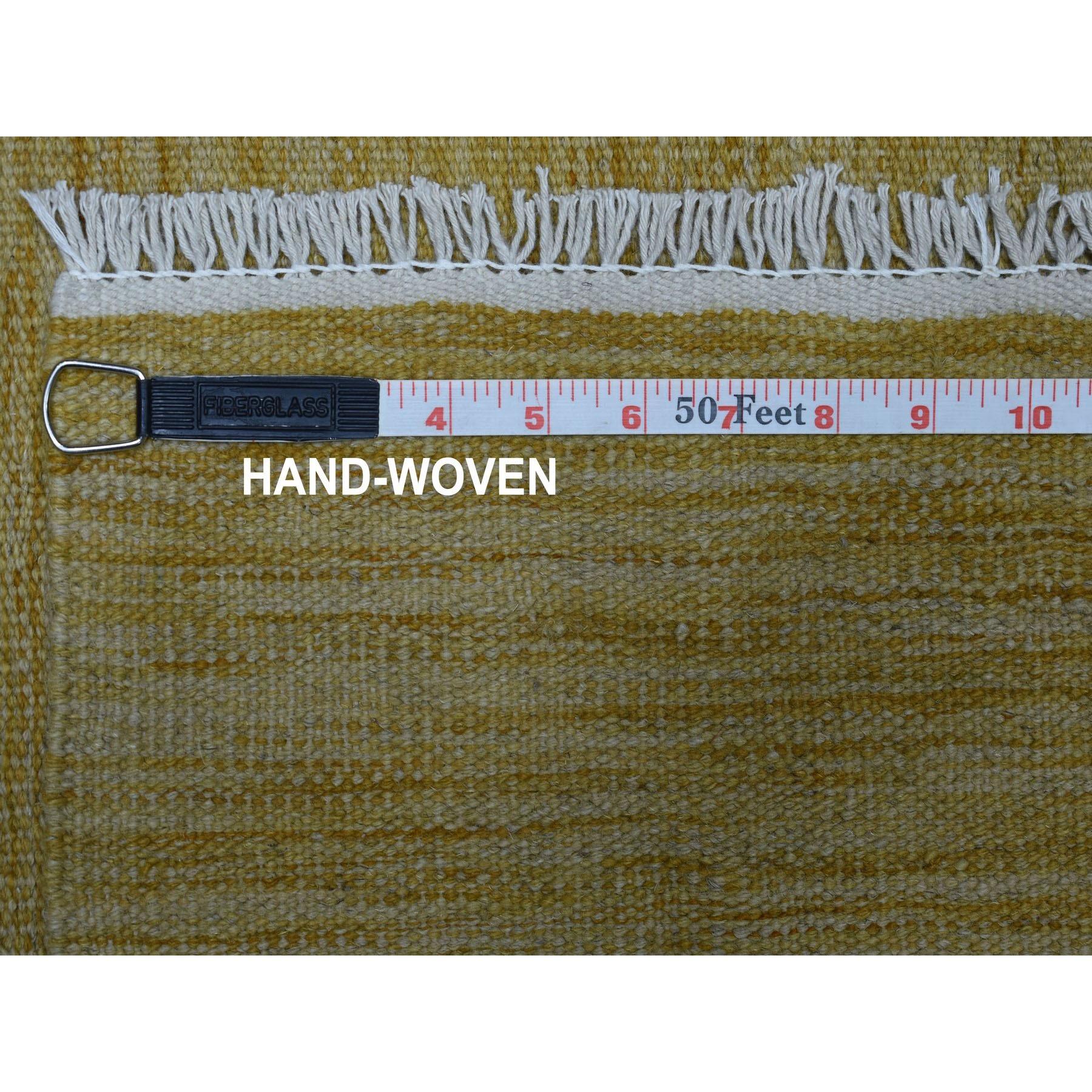 "2'7""x6'5"" Yellow Shades Flat Weave Kilim Pure Wool Hand Woven Runner Rug"