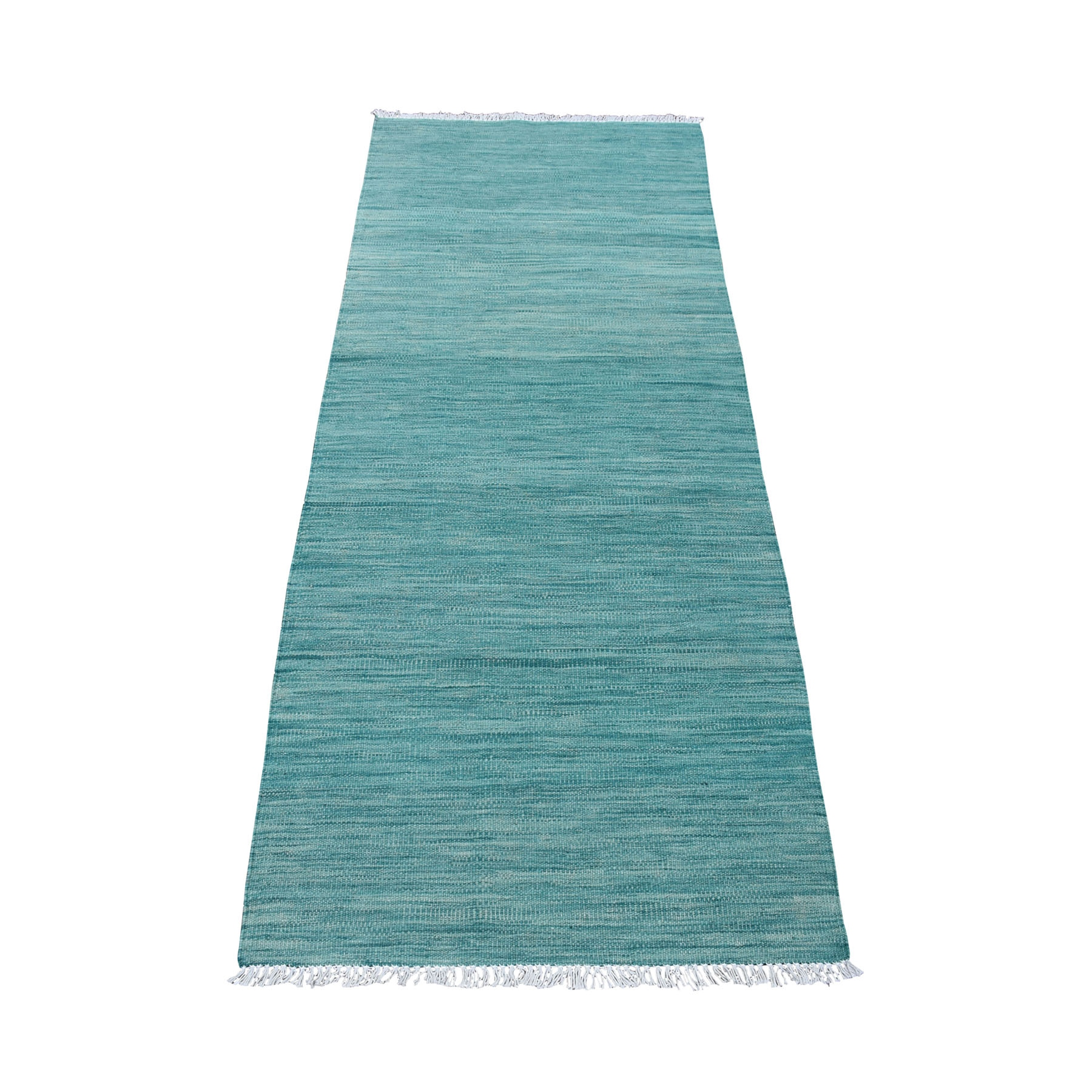 "2'5""x6'3"" Aquamarine Shades Reversible Kilim Wool Hand Woven Runner Oriental Rug"