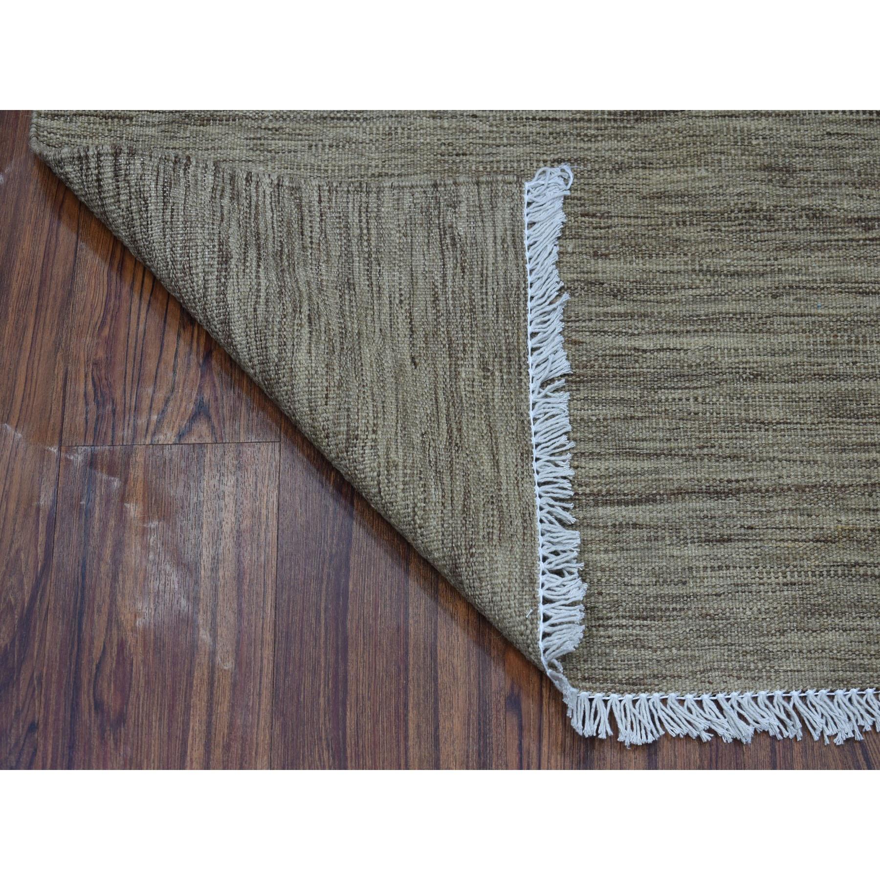 "2'4""x6'3"" Natural Shade Reversible Kilim Pure Wool Hand Woven Runner Oriental Rug"