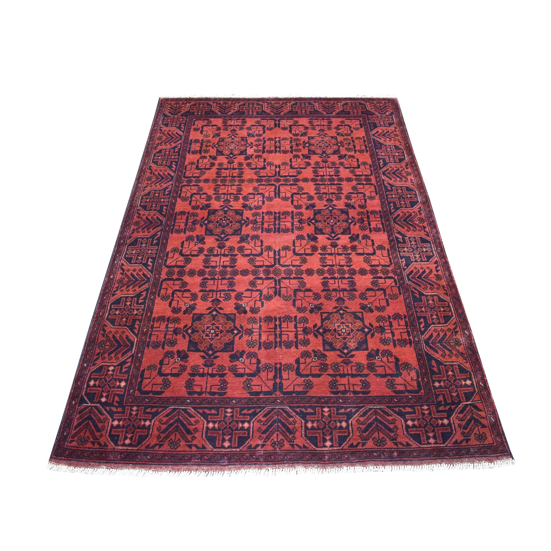 "4'2""X6'7"" Deep And Saturated Red Geometric Design Afghan Andkhoy Pure Wool Hand Knotted Oriental Rug moaec88d"