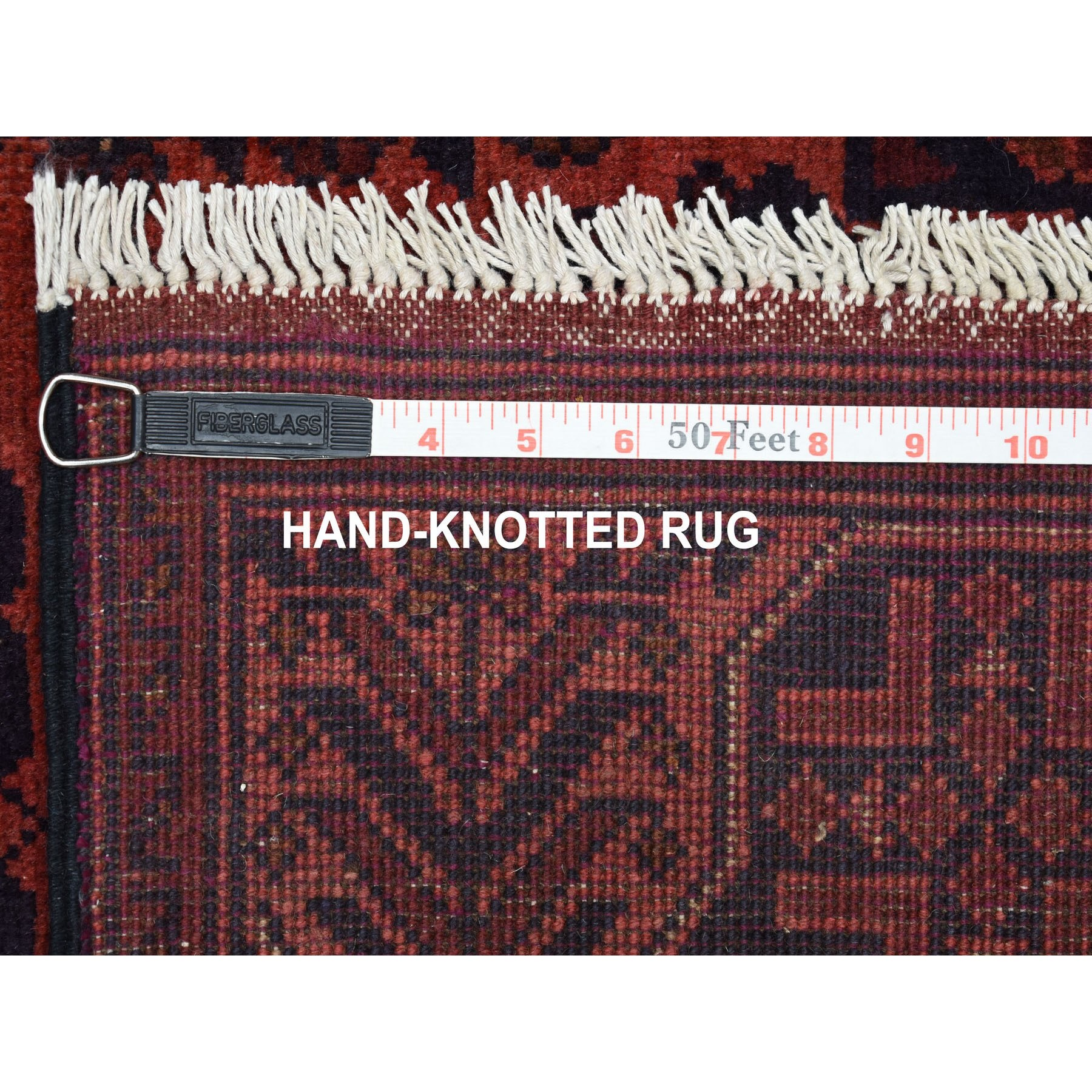 """4'2""""x6'7"""" Deep and Saturated Red Geometric Design Afghan Andkhoy Pure Wool Hand Knotted Oriental Rug"""
