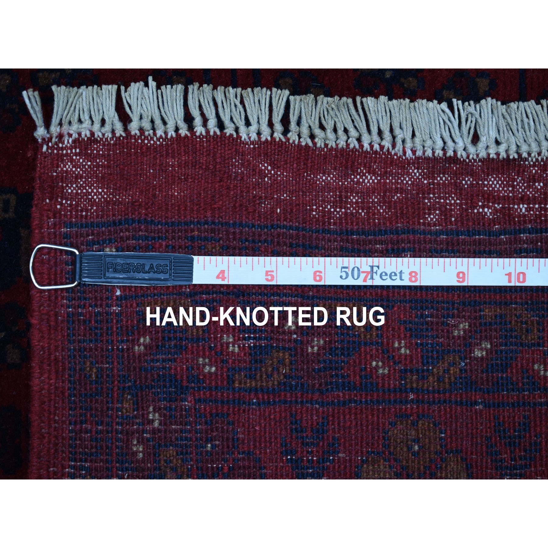 """3'3""""x5' Deep and Saturated Red Geometric Design Afghan Andkhoy Pure Wool Hand-Knotted Oriental Rug"""