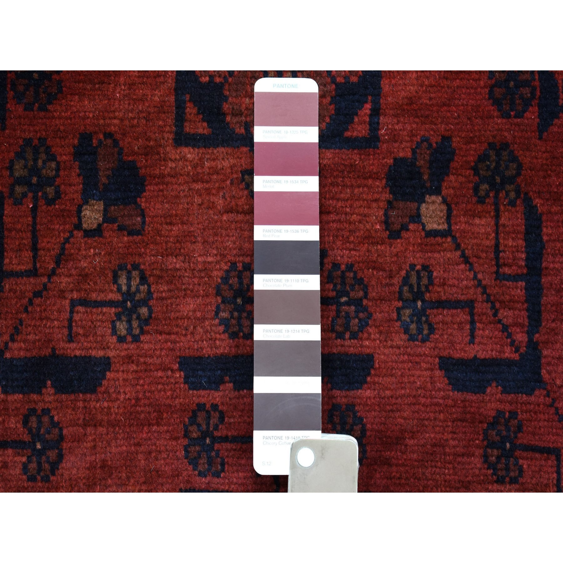 "3'3""x5'1"" Deep and Saturated Red Geometric Design Afghan Andkhoy Pure Wool Hand-Knotted Oriental Rug"