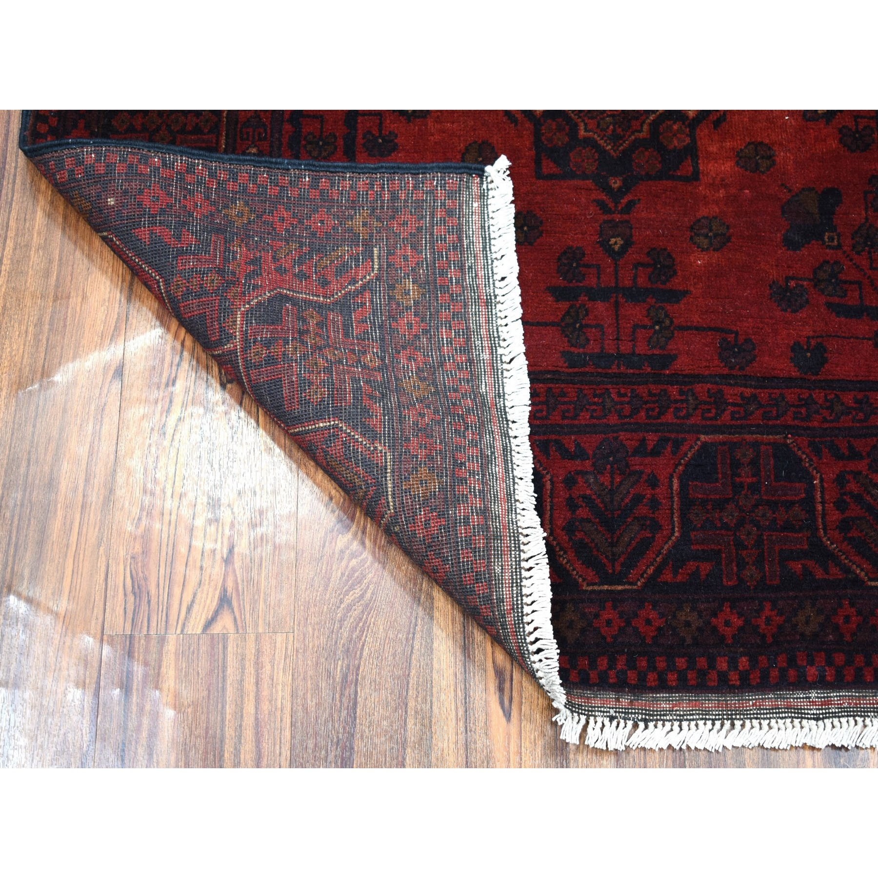 "3'6""x4'7"" Deep and Saturated Red Geometric Design Afghan Andkhoy Pure Wool Hand-Knotted Oriental Rug"